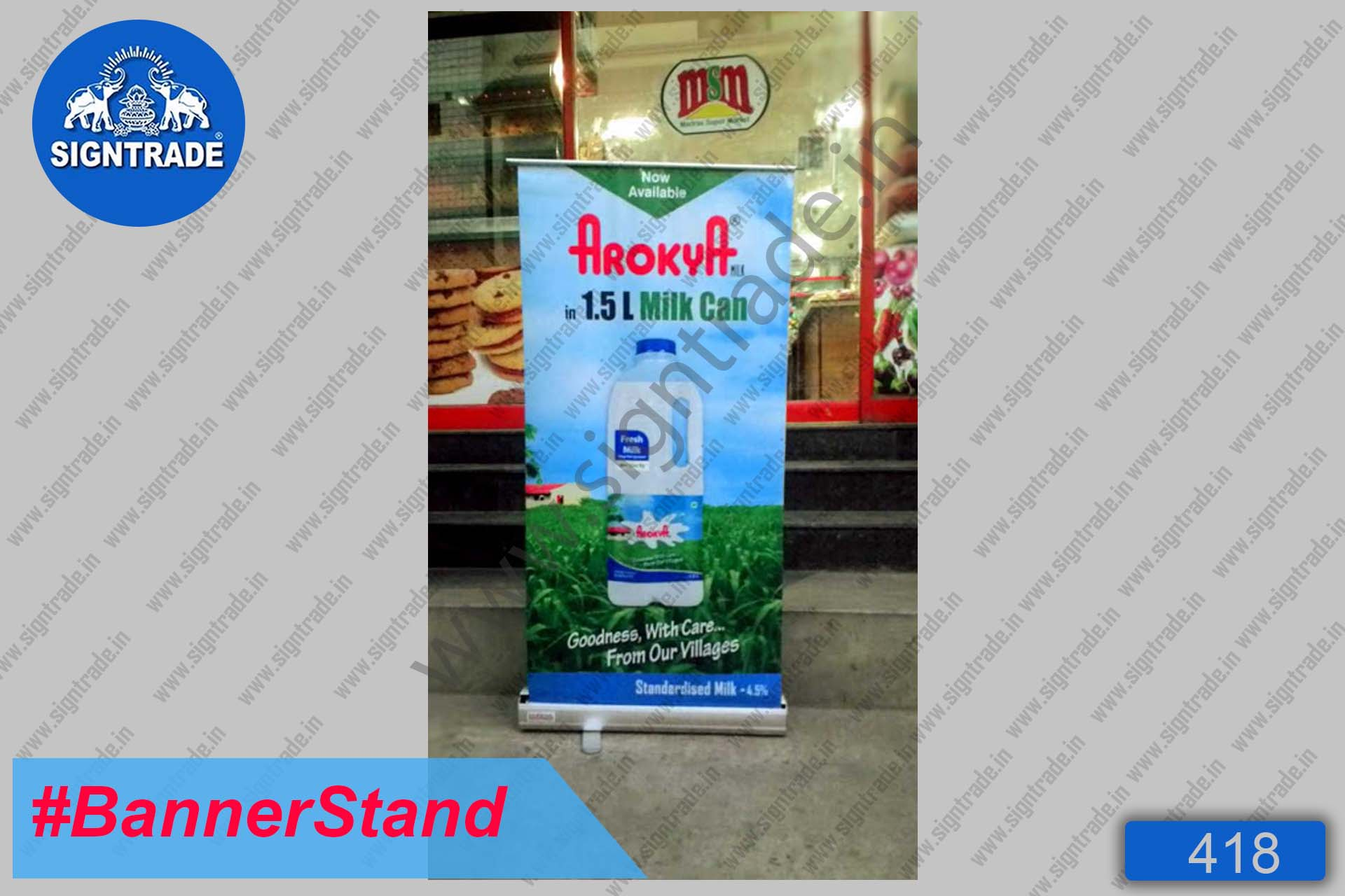 Arokya Milk Can - Roll Up Banner Stand