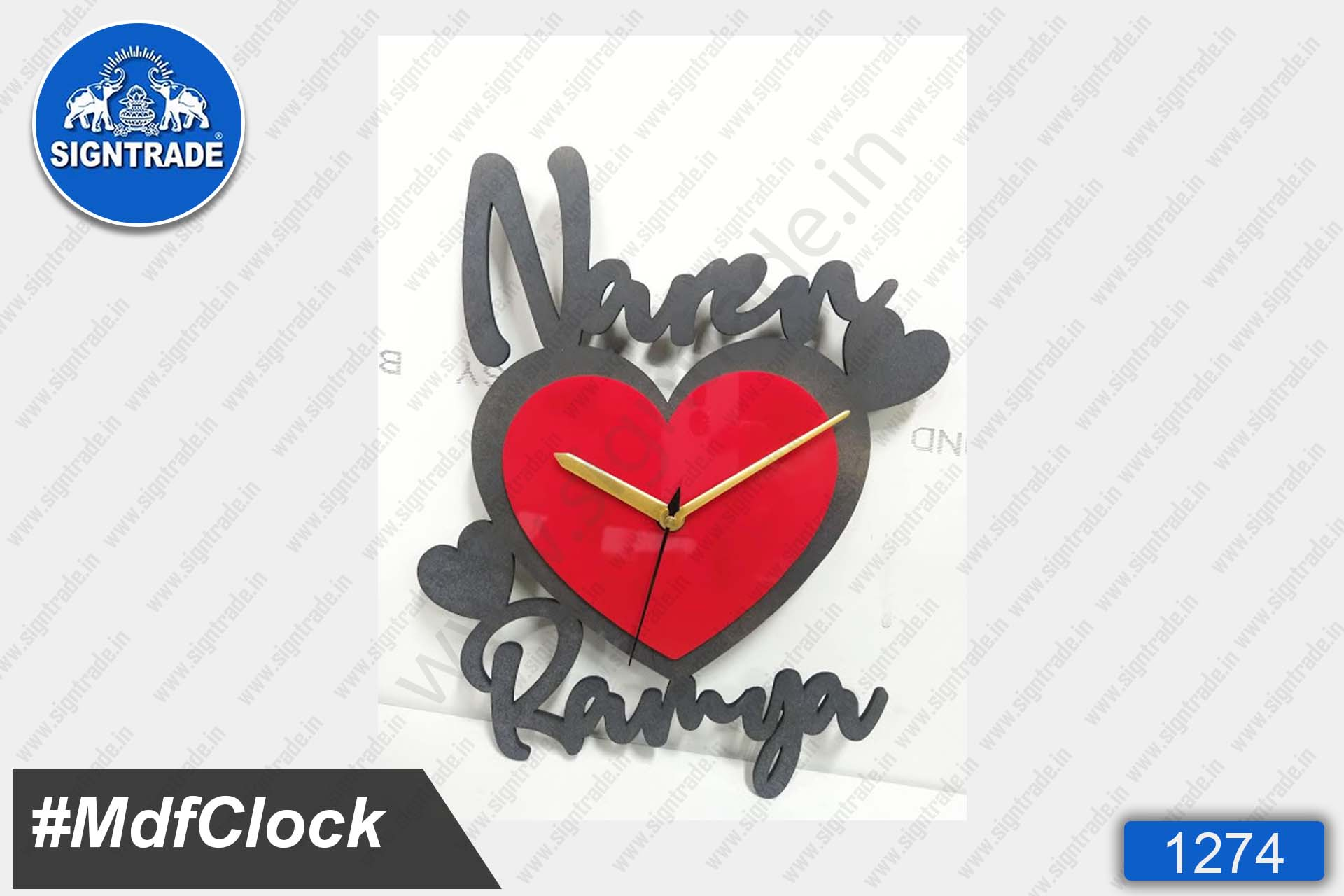 MDF Heart Shape Wall Clock