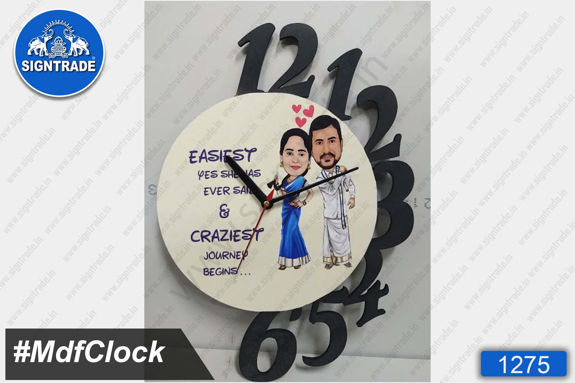 MDF Wall Clock (Wedding)