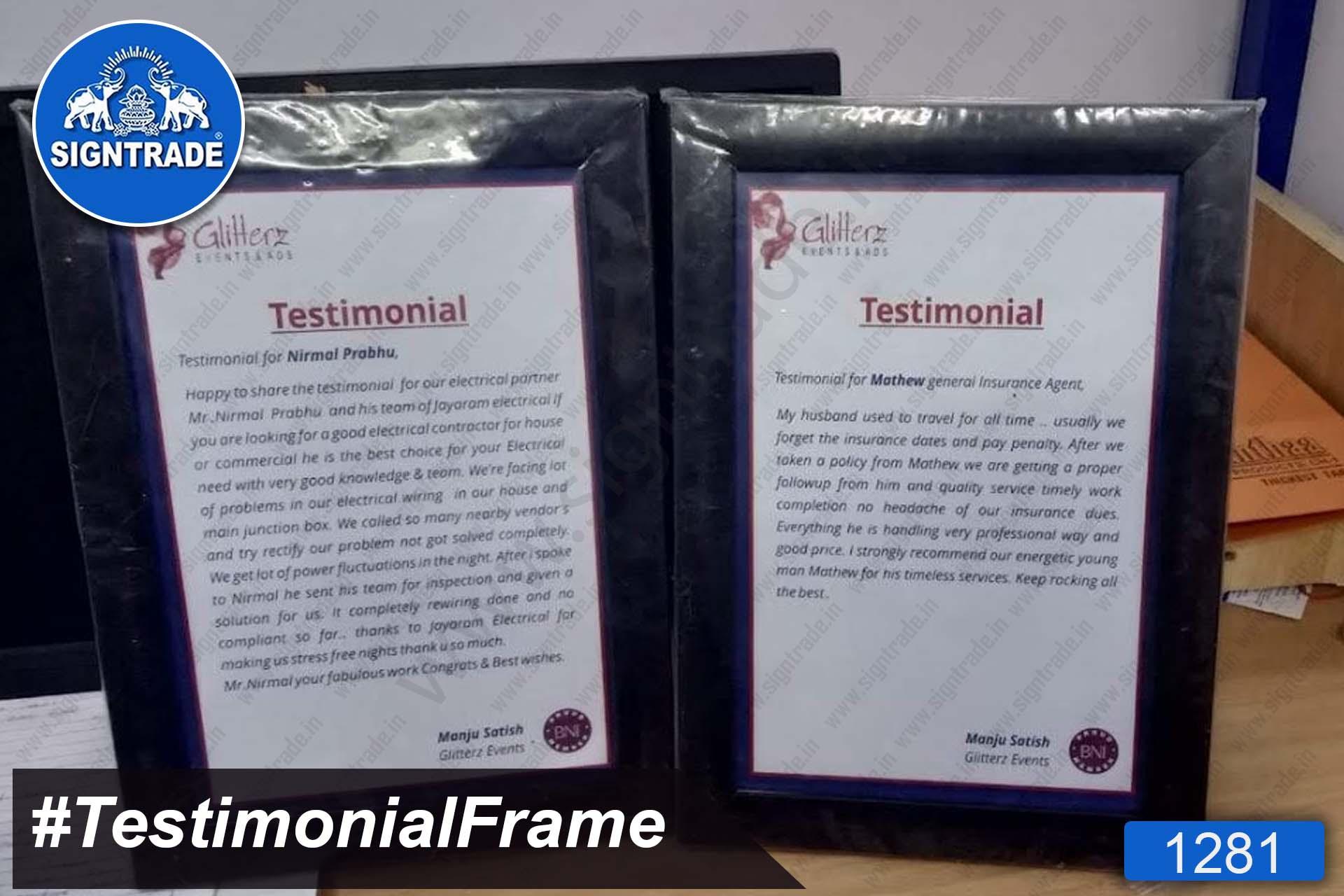 Acrylic Testimonial Frame