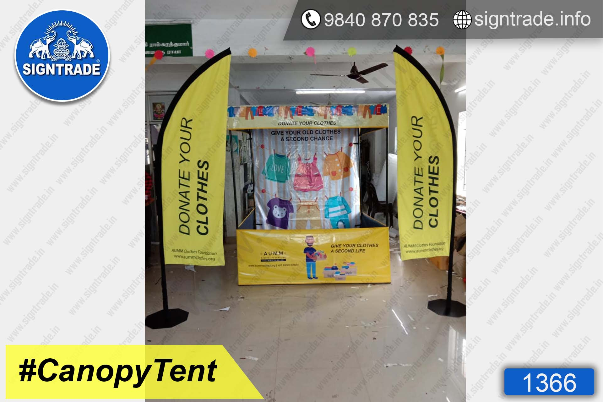 Donate Your Clothes - 1366, Canopy tent, Flat roof tent, Promo tent, Promotional tent, Advertising tent, Promo Flag