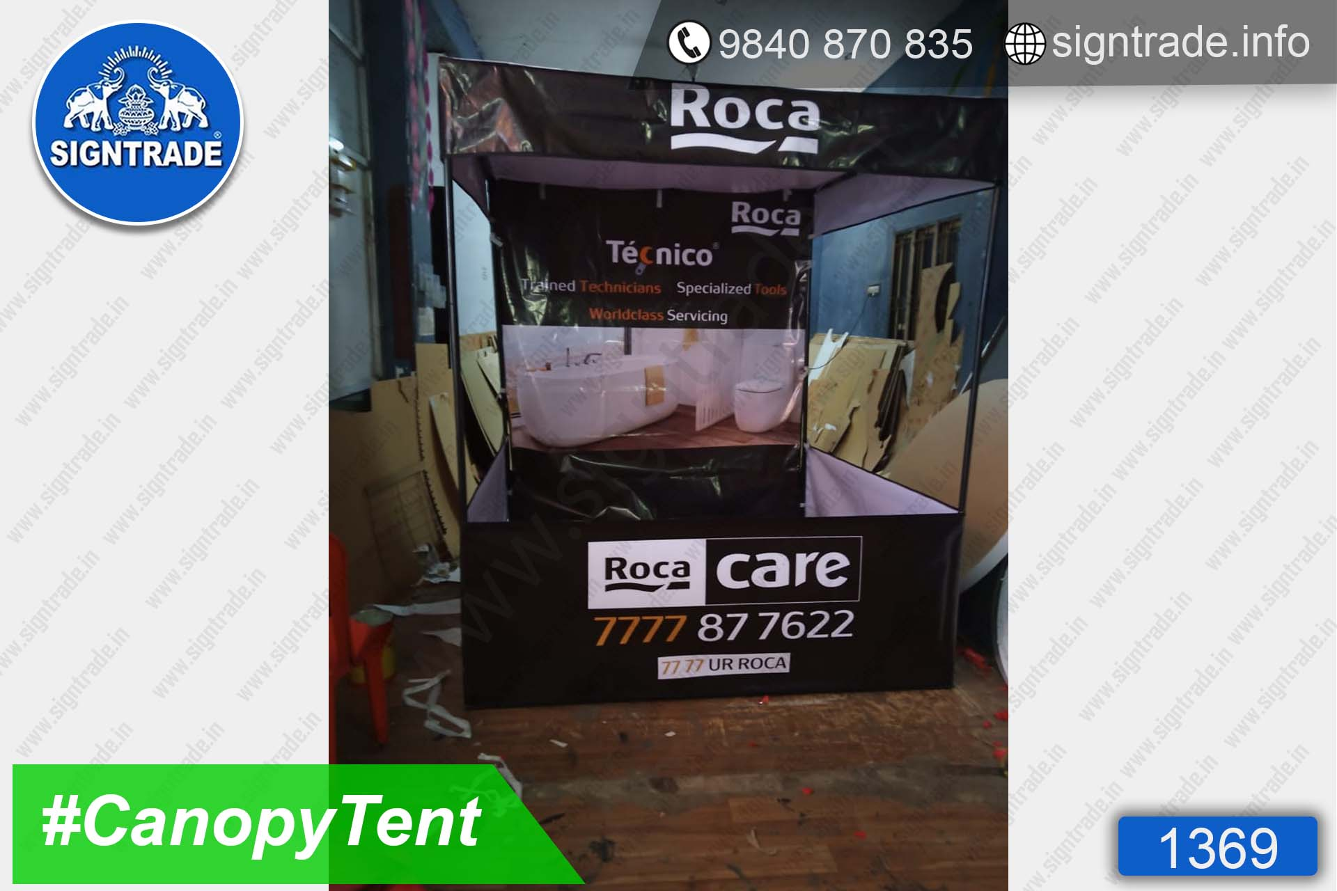 Roca Care - 1369, Canopy tent, Flat roof tent, Promo tent, Promotional tent, Advertising tent, Promo Flag