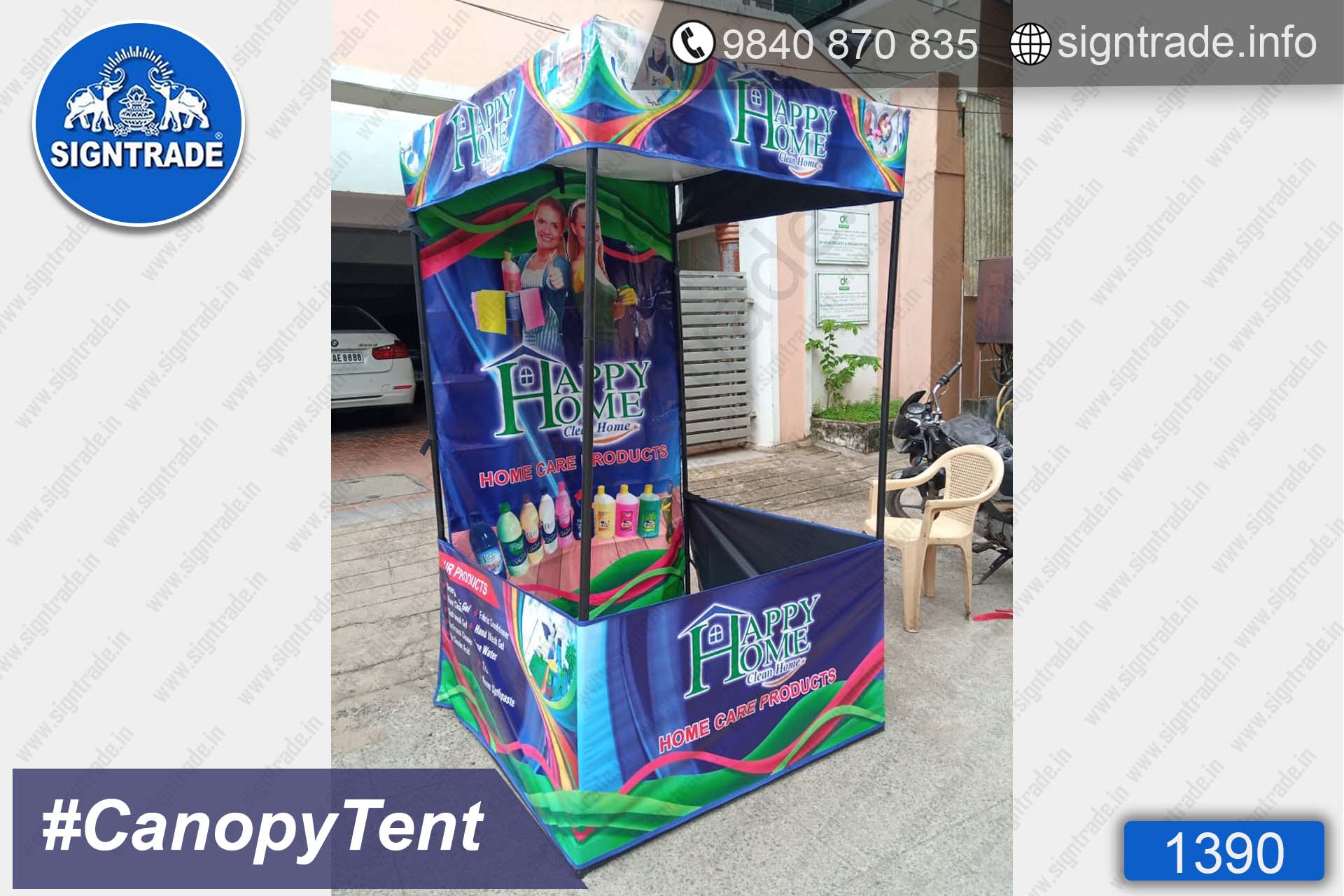 Happy Home - Home Care Products - 1390, Canopy tent, Flat roof tent, Promo tent, Promotional tent, Advertising tent, Promo Flag