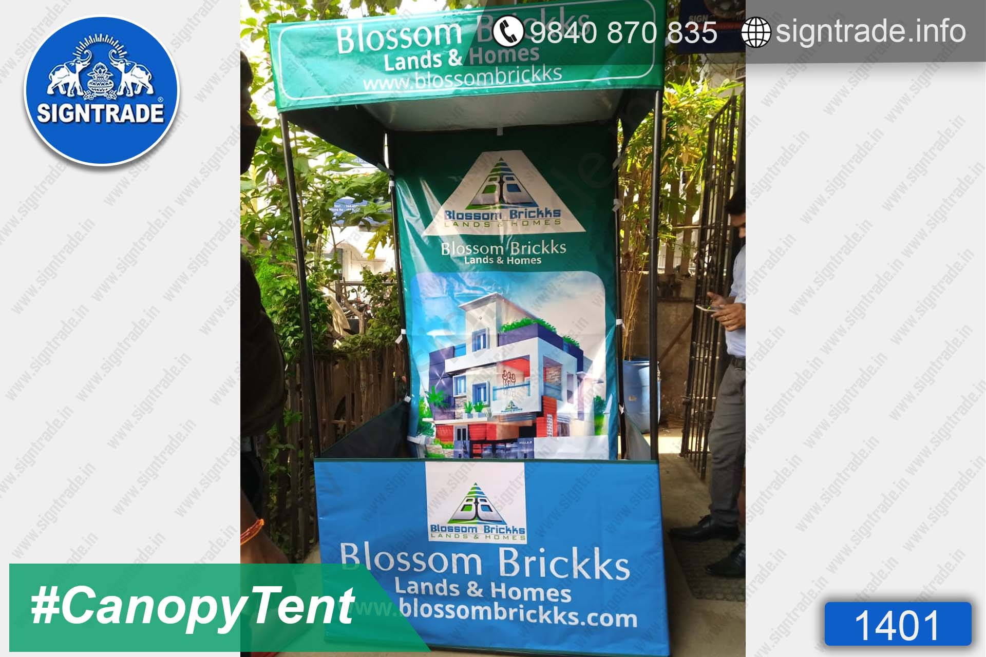 Blossom Brickks (Lands & Homes) - 1401, Canopy tent, Flat roof tent, Promo tent, Promotional tent, Advertising tent, Promo Flag