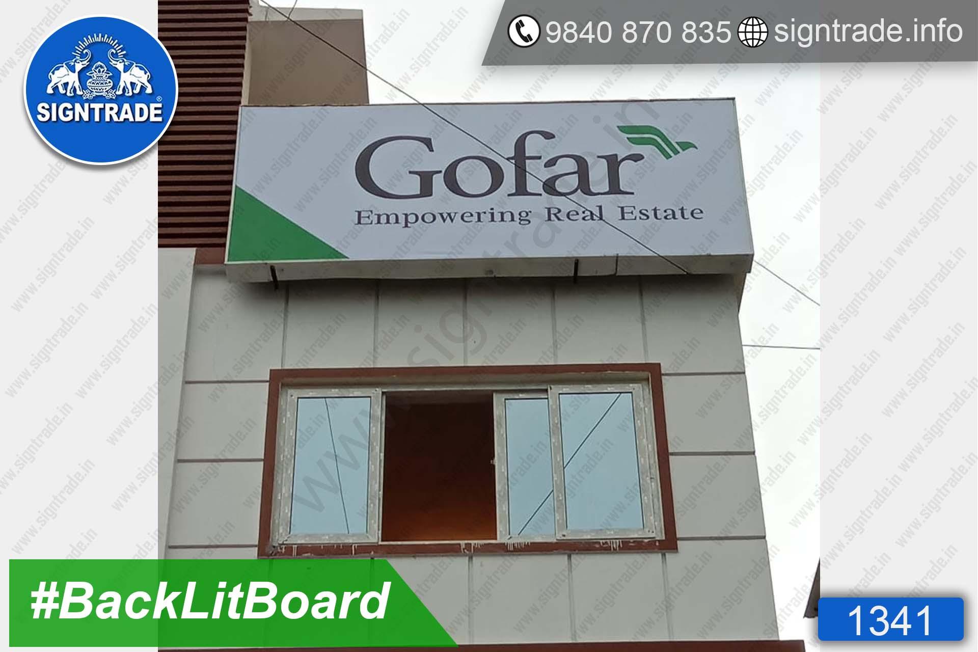 Gofar - Empowering Real Estate - Chennai - SIGNTRADE - BackLit Flex Board Manufacturers in Chennai