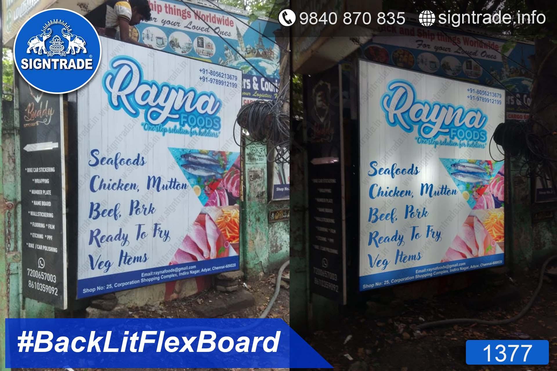 Rayna Foods - Chennai - SIGNTRADE - Backlit Flex Board - Digital Printing Services in Chennai