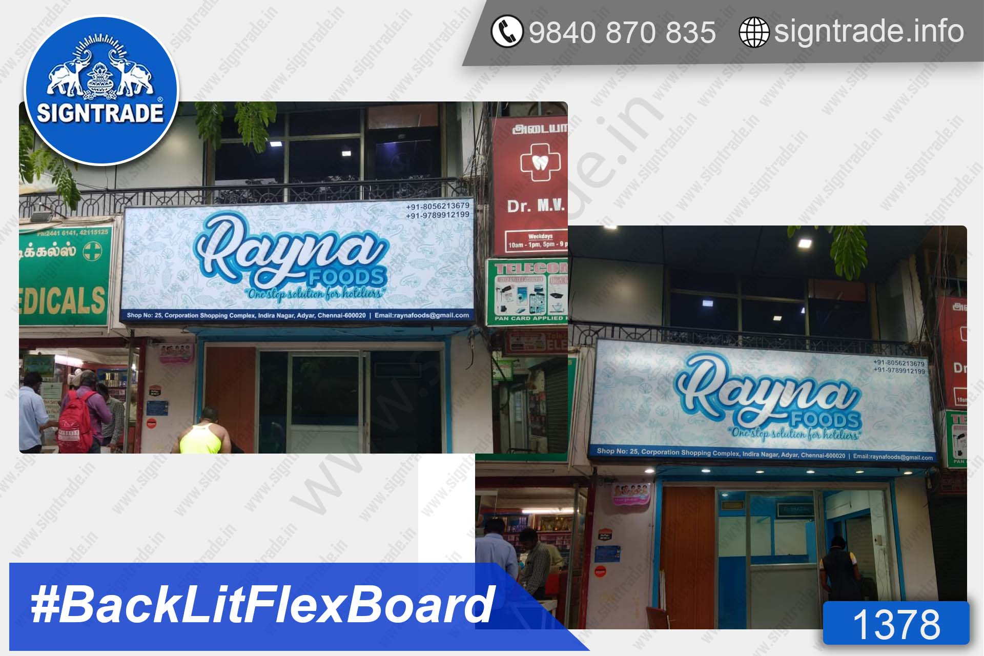 Rayna Foods - Chennai - SIGNTRADE - Backlit Flex Board - Digital Printing Services in Chennai