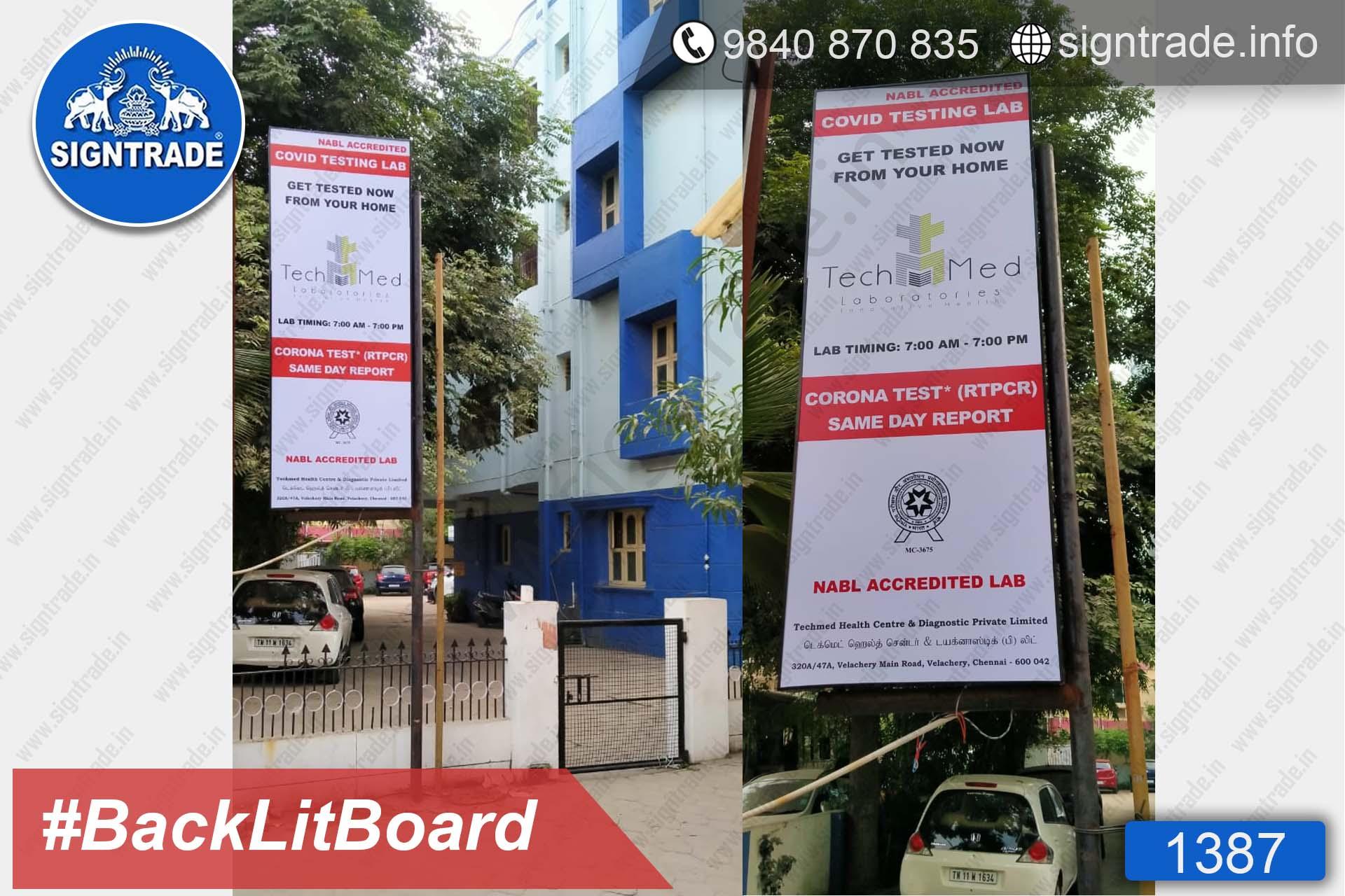 Tech Med - COVID Testing Lab - 1387, Flex Board, Backlit Flex Board, Star Backlit Flex Board, Backlit Flex Banners, Shop Front Flex Board, Shop Flex Board