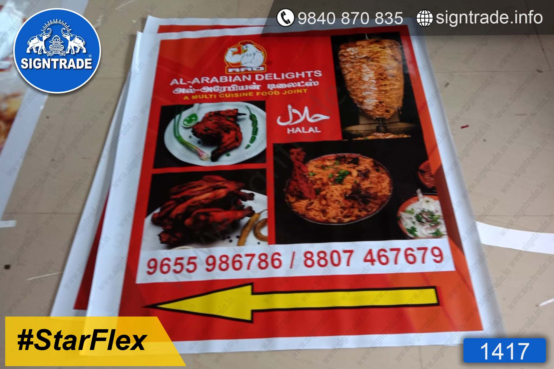 Al Arabian Delights Restaurant - 1417, Flex Board, Frontlit Flex Board, Star Frontlit Flex Board, Frontlit Flex Banners, Shop Front Flex Board, Shop Flex Board, Star Flex