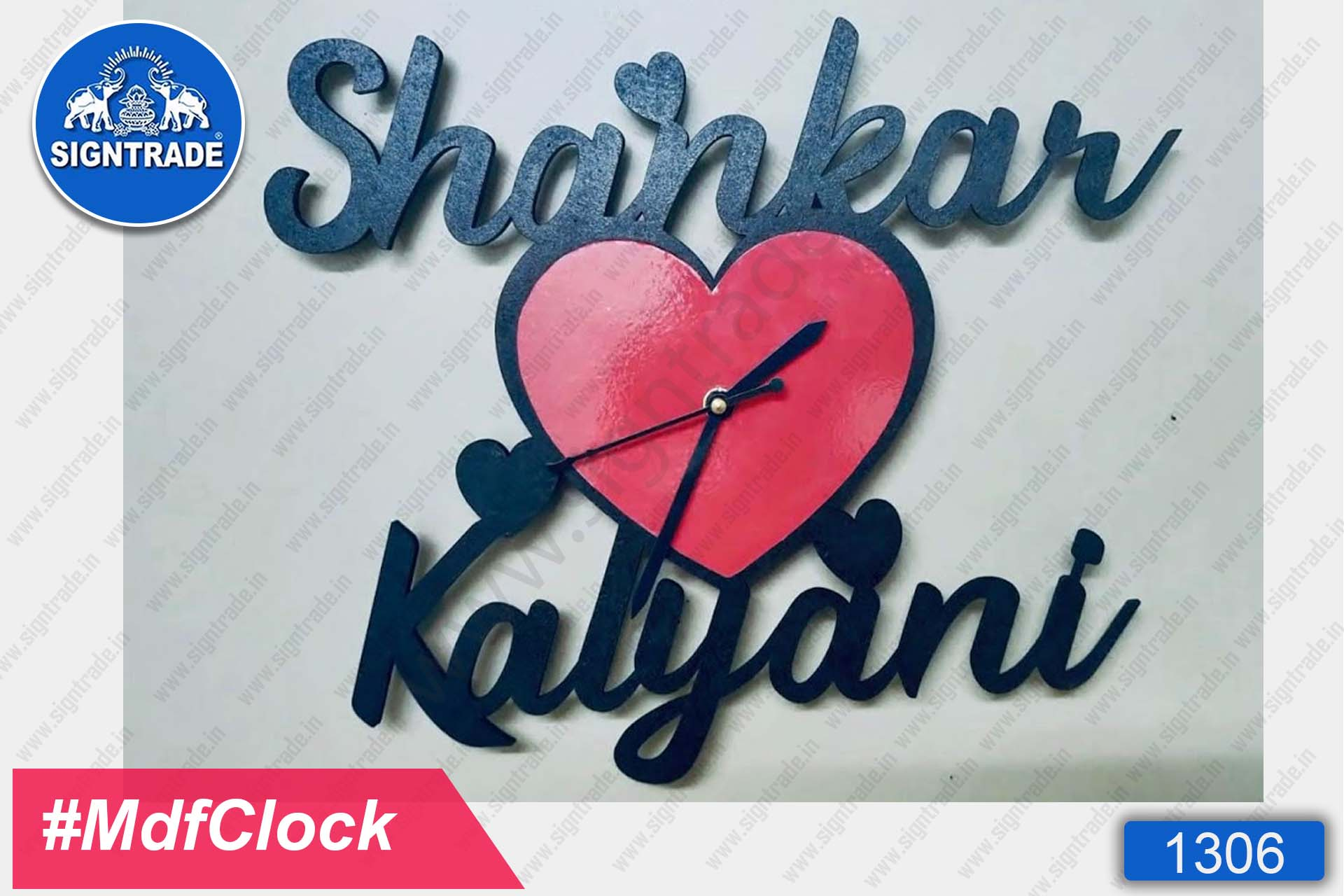 MDF Wall Clock with Couple Name