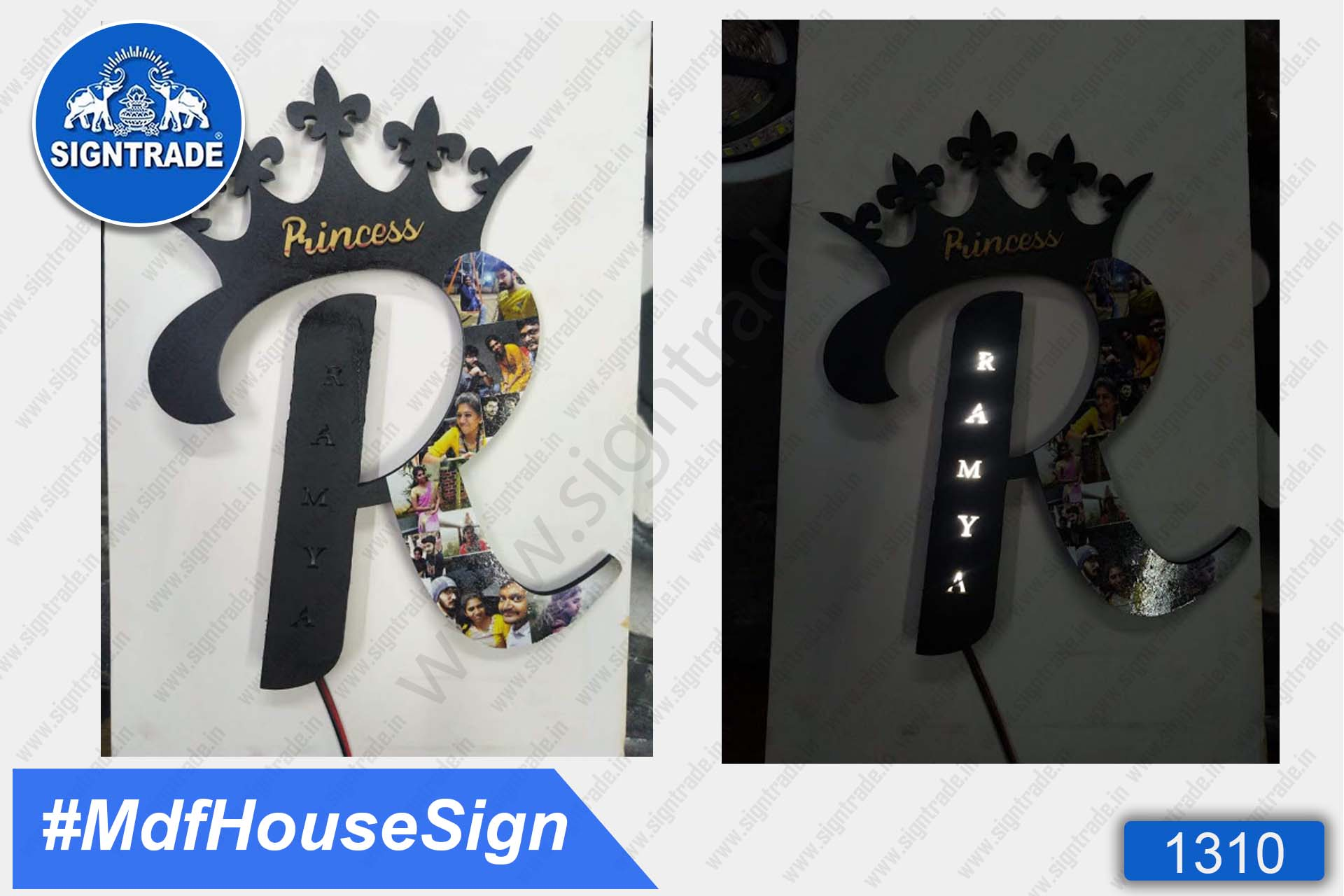 MDF with LED light Home Sign