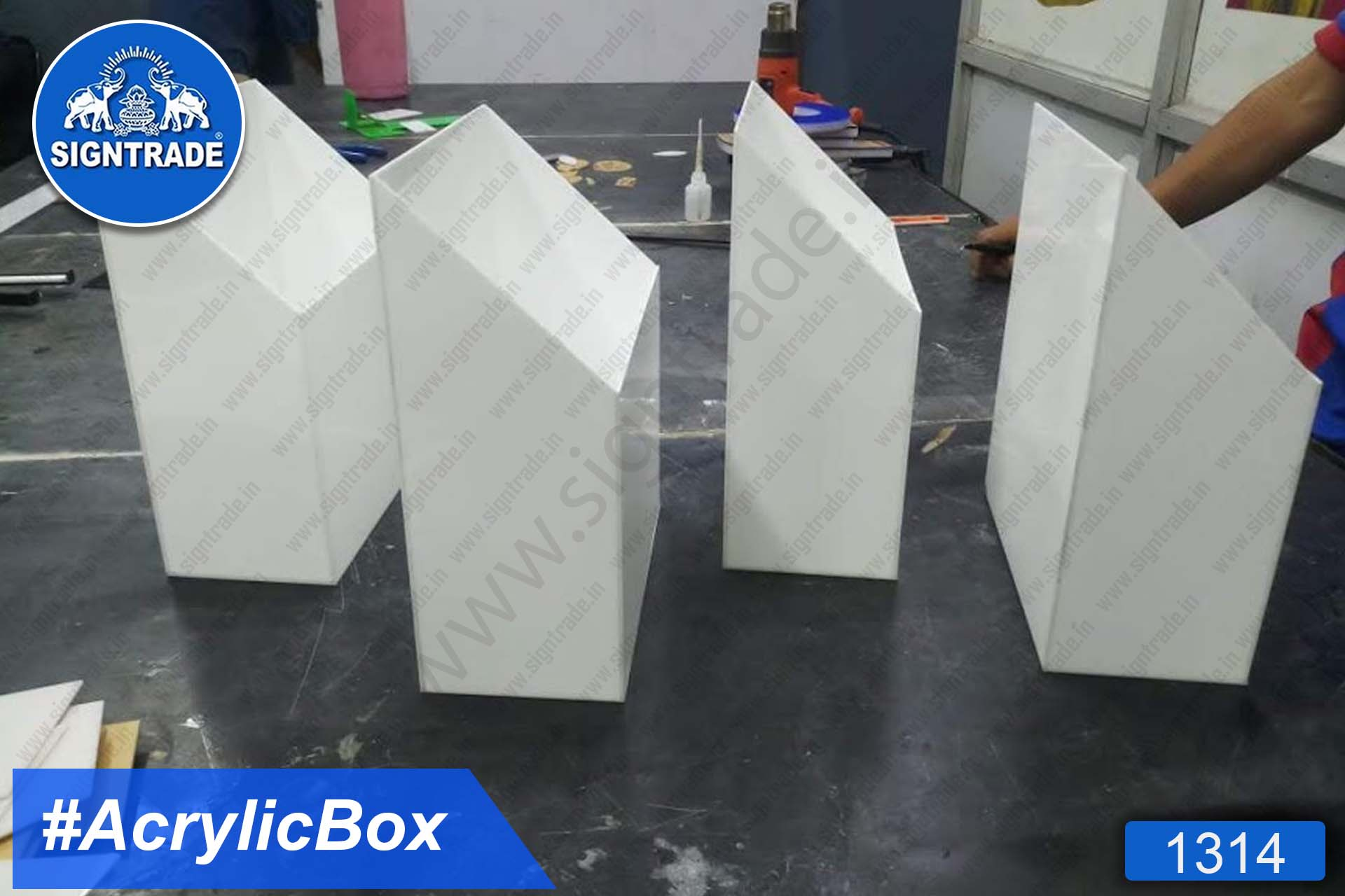 White Acrylic Container Box