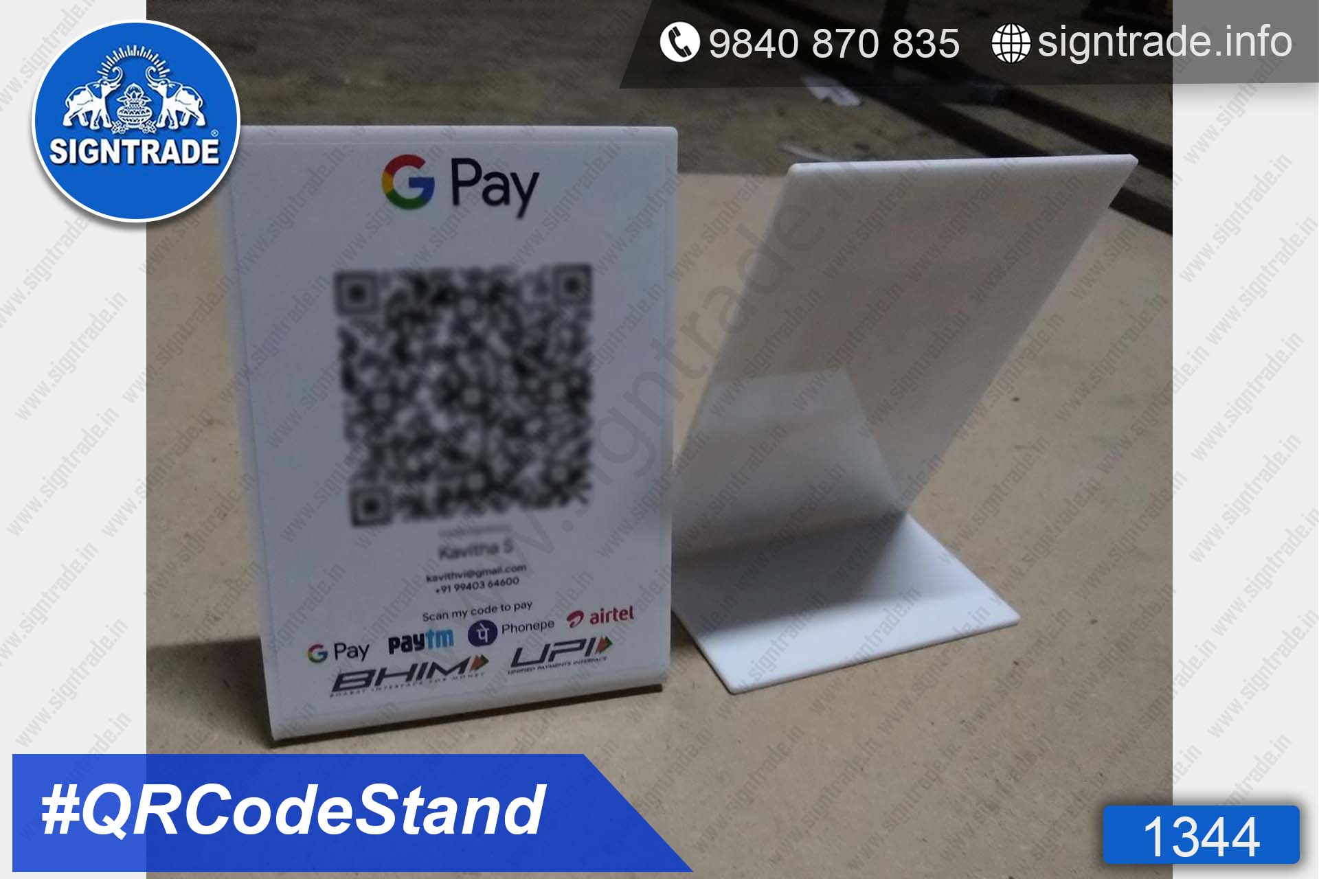 White Acrylic QR Code Stand , QR Code Stand Wholesaler, Retailer and Manufacturer in Chennai