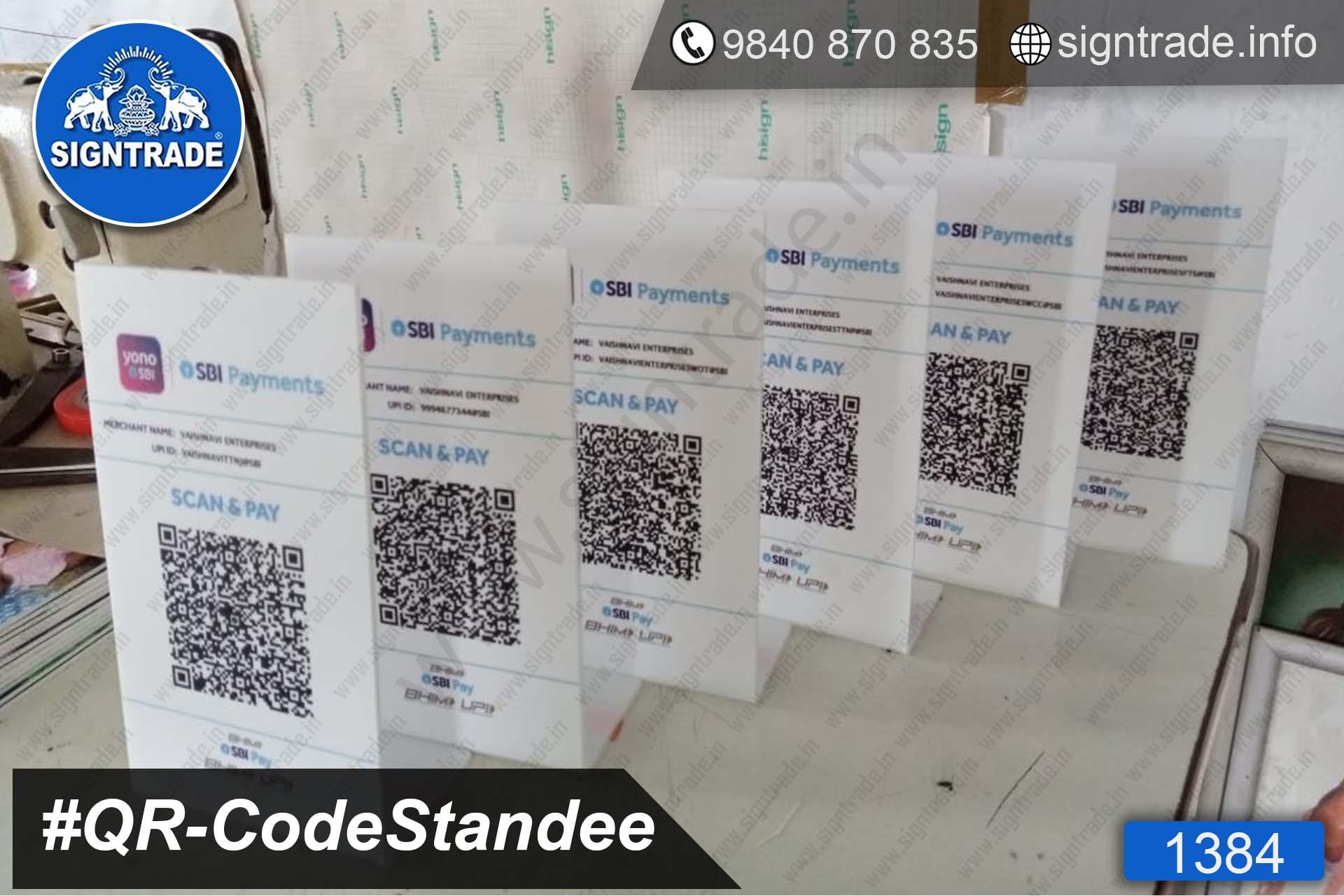 1384-QR Code Scanner, Acrylic QR Code Standee, Acrylic QR Code Scanner