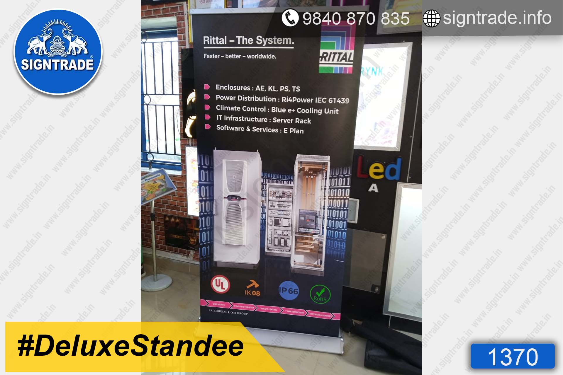 Rittal - The System - 1370, Retractable Banner, Deluxe Roll Up Banner Stand, Banner Stand, Roll Up Banner, Standee, Promotional Standee, Promotional Roll Up Standee, Promo Standee,