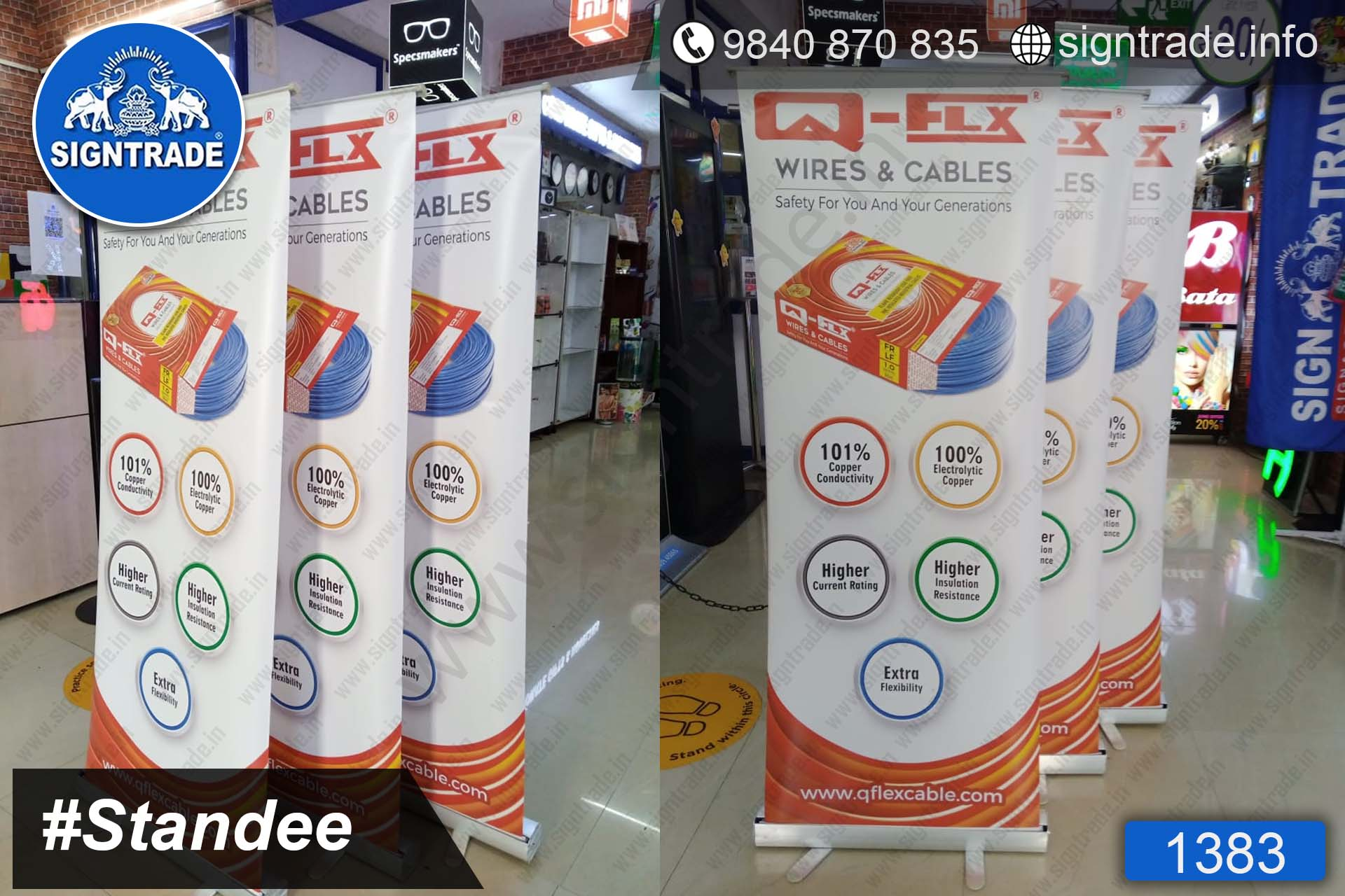 Q - Flex Wires and Cables - 1383, Retractable Banner, Roll Up Banner Stand, Banner Stand, Roll Up Banner, Standee, Promotional Standee, Promotional Roll Up Standee, Promo Standee