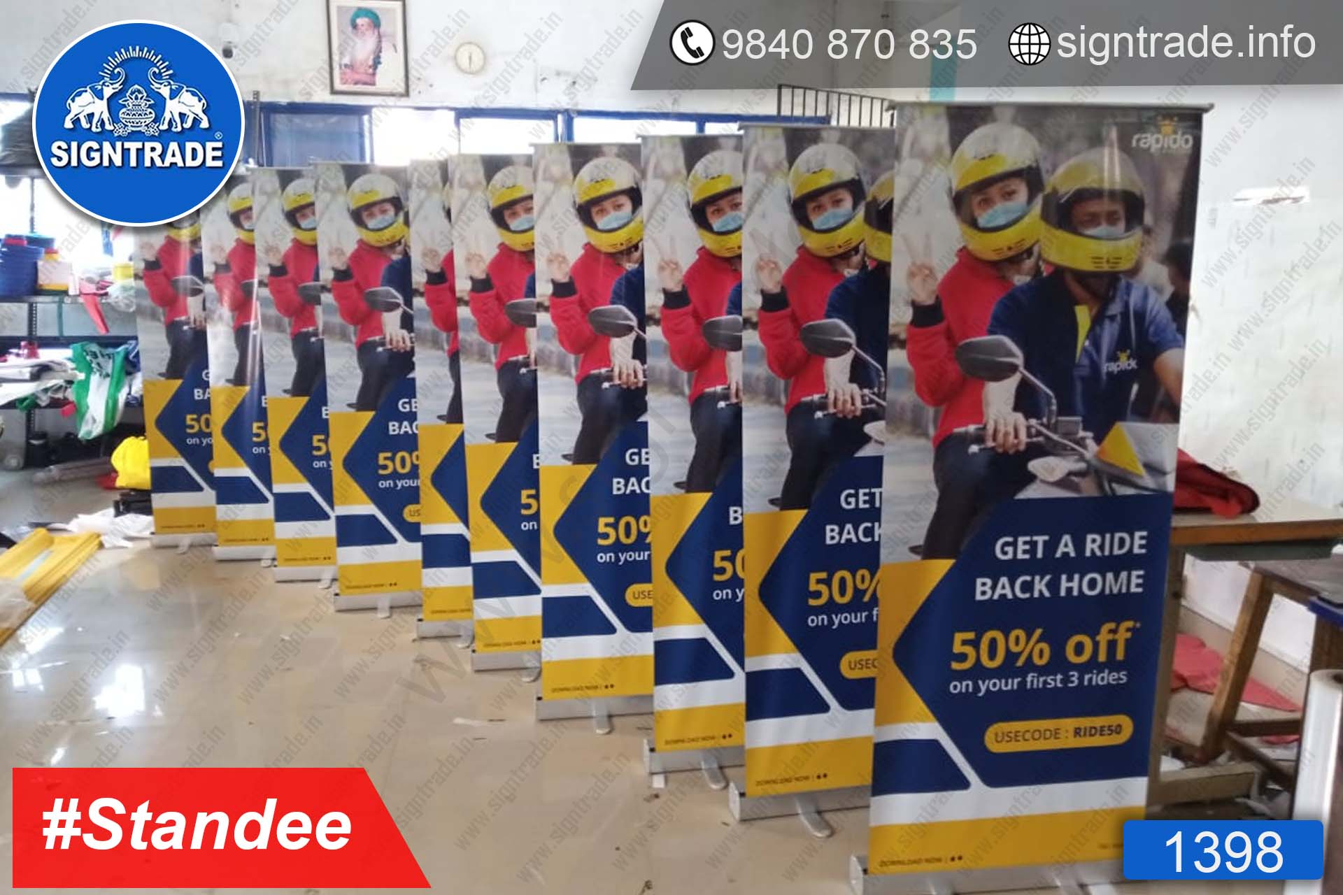 Bike Taxi - 1398, Retractable Banner, Roll Up Banner Stand, Banner Stand, Roll Up Banner, Standee, Promotional Standee, Promotional Roll Up Standee, Promo Standee