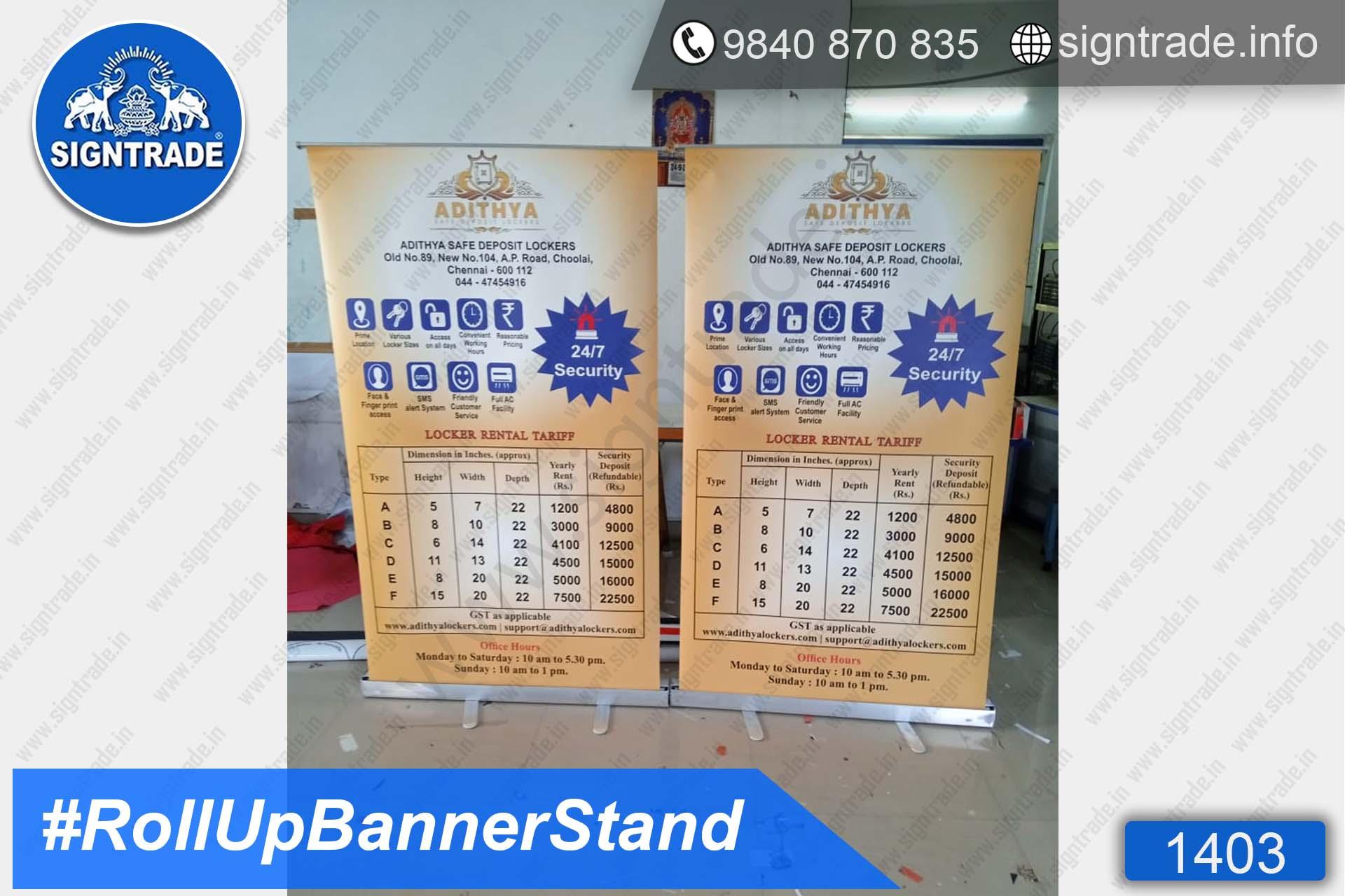 Adithya Safe Deposit Lockers - 1403, Retractable Banner, Roll Up Banner Stand, Banner Stand, Roll Up Banner, Standee, Promotional Standee, Promotional Roll Up Standee, Promo Standee