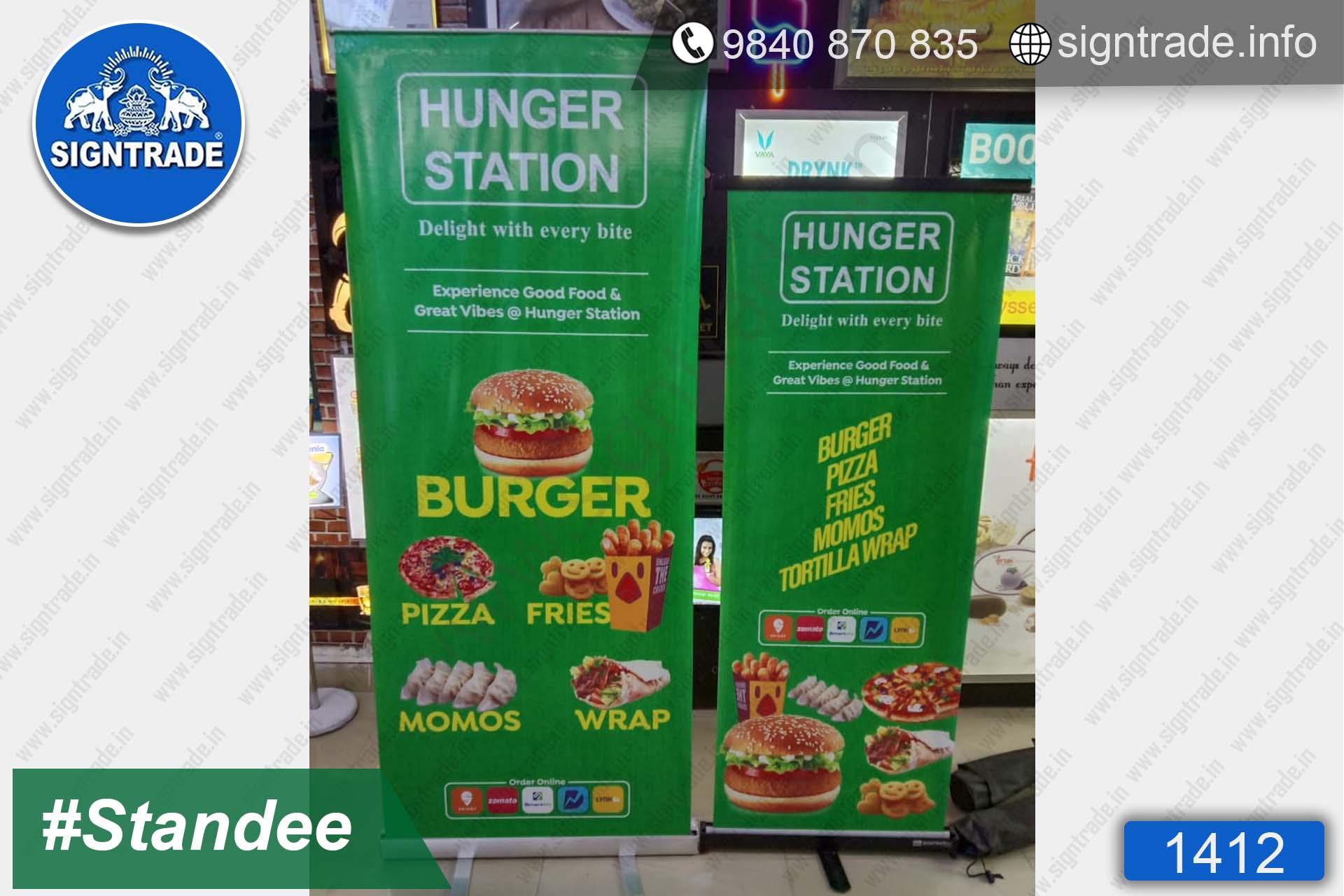 Hunger Station Restaurant - 1412, Retractable Banner, Roll Up Banner Stand, Banner Stand, Roll Up Banner, Standee, Promotional Standee, Promotional Roll Up Standee, Promo Standee