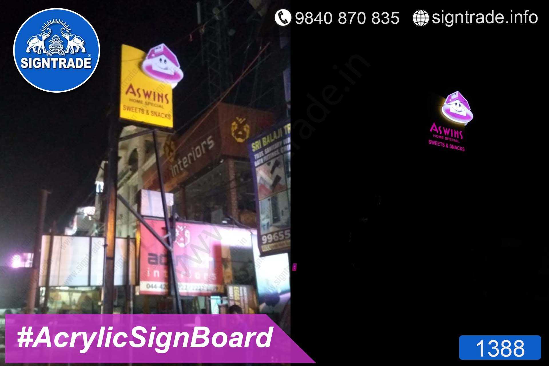 Ashwin Sweets and Snacks - 1388, LED Sign Board, Sign Board, Acrylic Sign Board, Glow Sign Board, Custom Sign Board