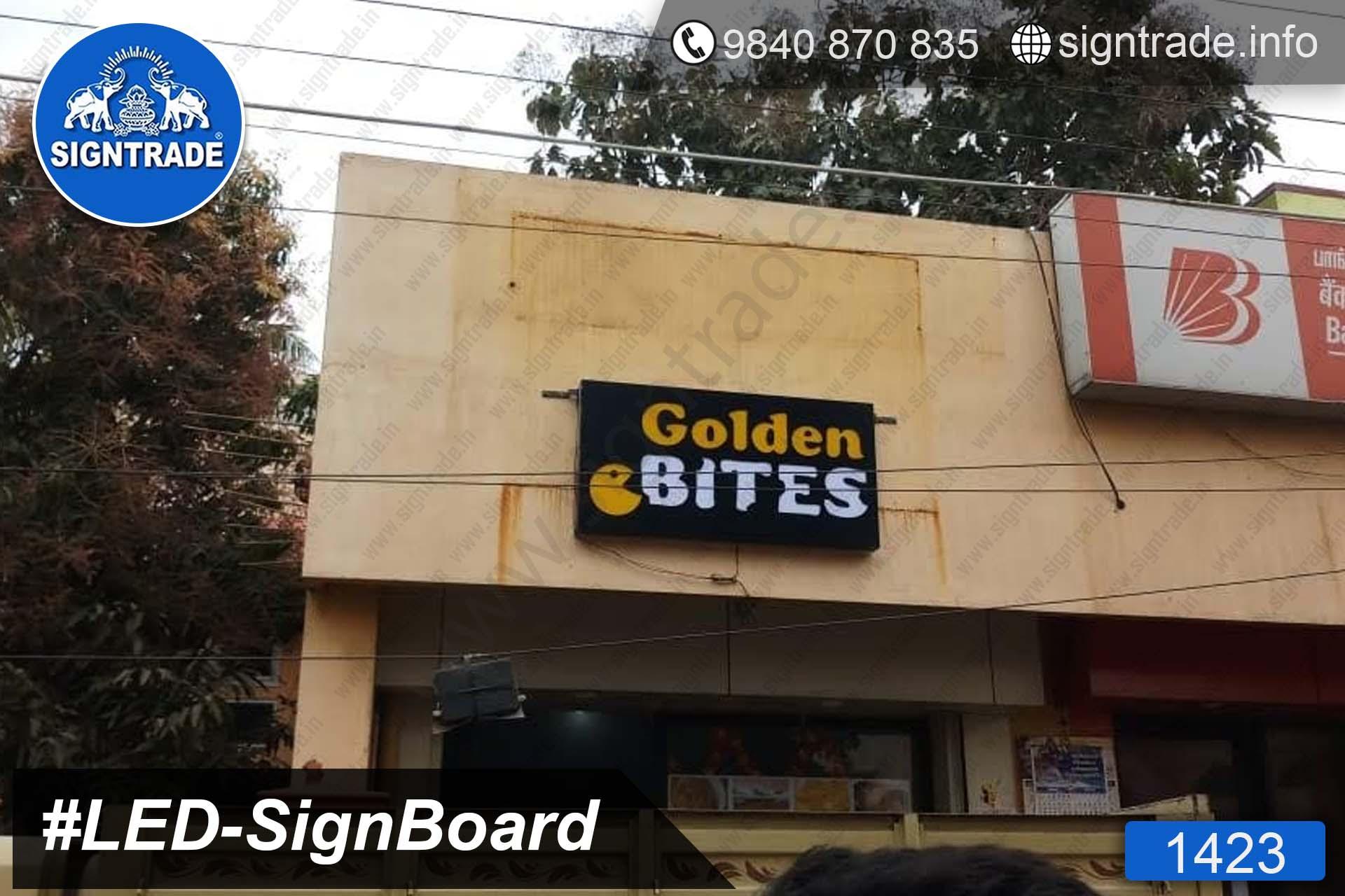 Golden Bites - 1423, LED Sign Board, Sign Board, Acrylic Sign Board, Glow Sign Board, Custom Sign Board