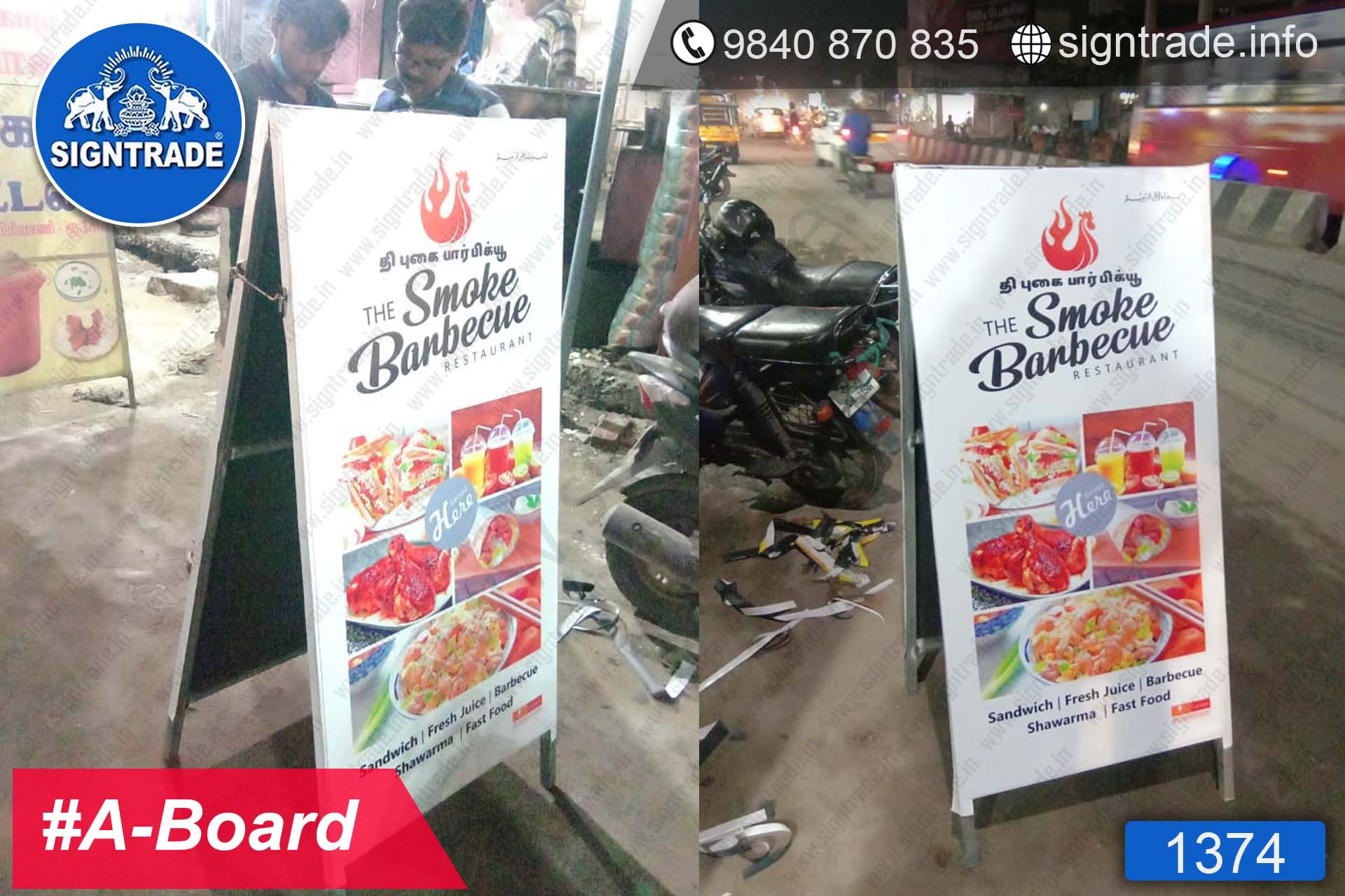 The Smoke Barbeque - Chennai - SIGNTRADE - A-Board - Frontlit Flex Board - Digital Printing Services in Chennai