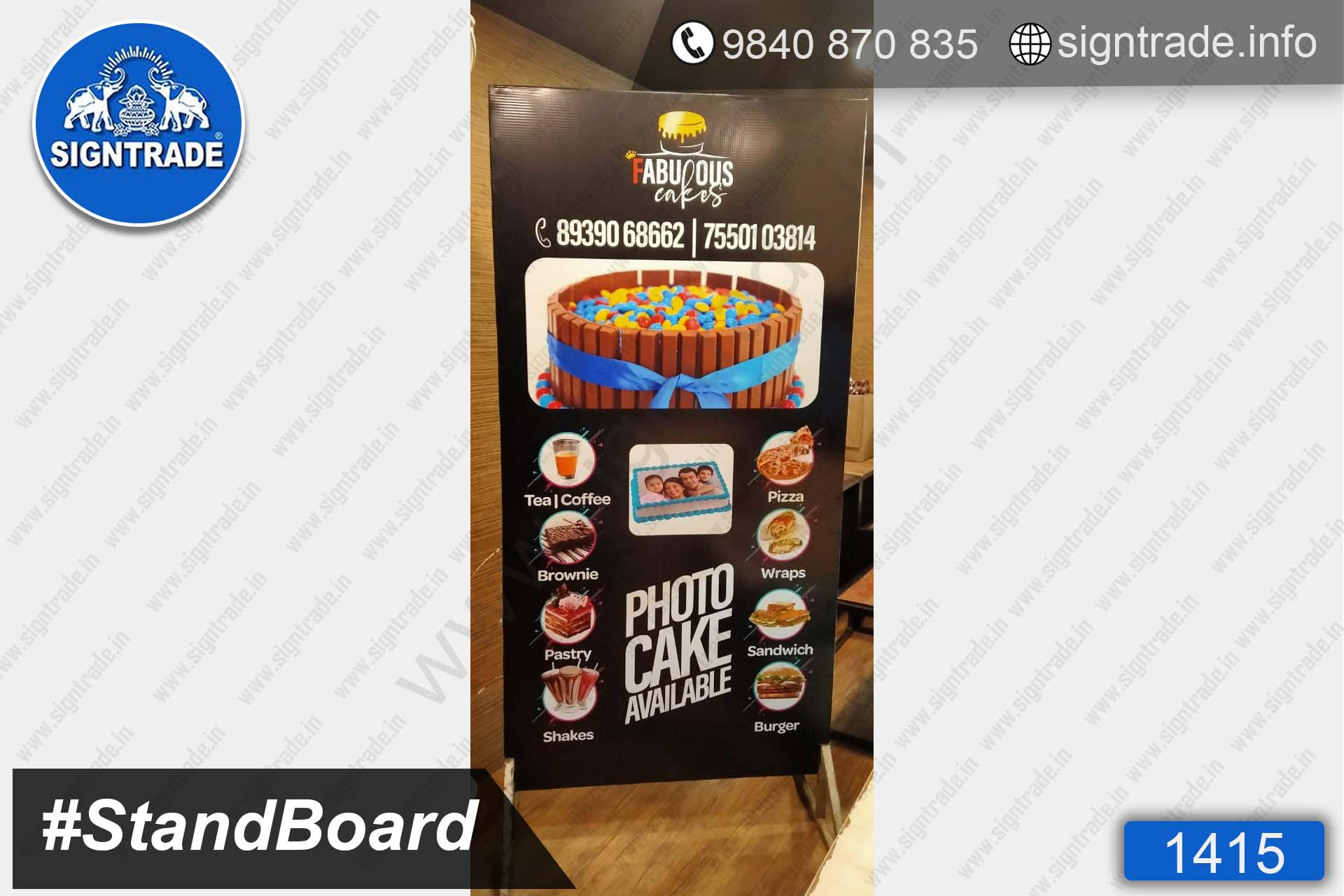 Fabulous Cakes - 1415, Stand Up Flex Board, Flex Board, Shop front flex board, a board, board, Custom stand board