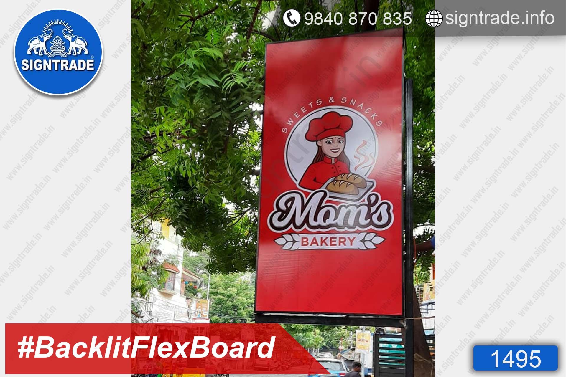 1495, Mom's Bakery, Chennai - SIGNTRADE - Digital Printing Service, BackLit Flex Board Manufacturers in Chennai