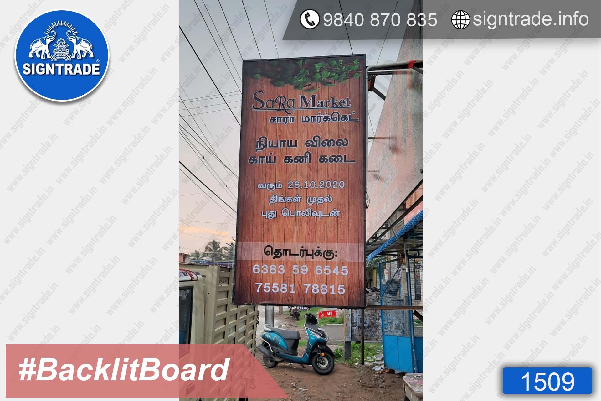 Sara Market, Chennai - SIGNTRADE - Digital Printing Service, BackLit Flex Board Manufacturers in Chennai