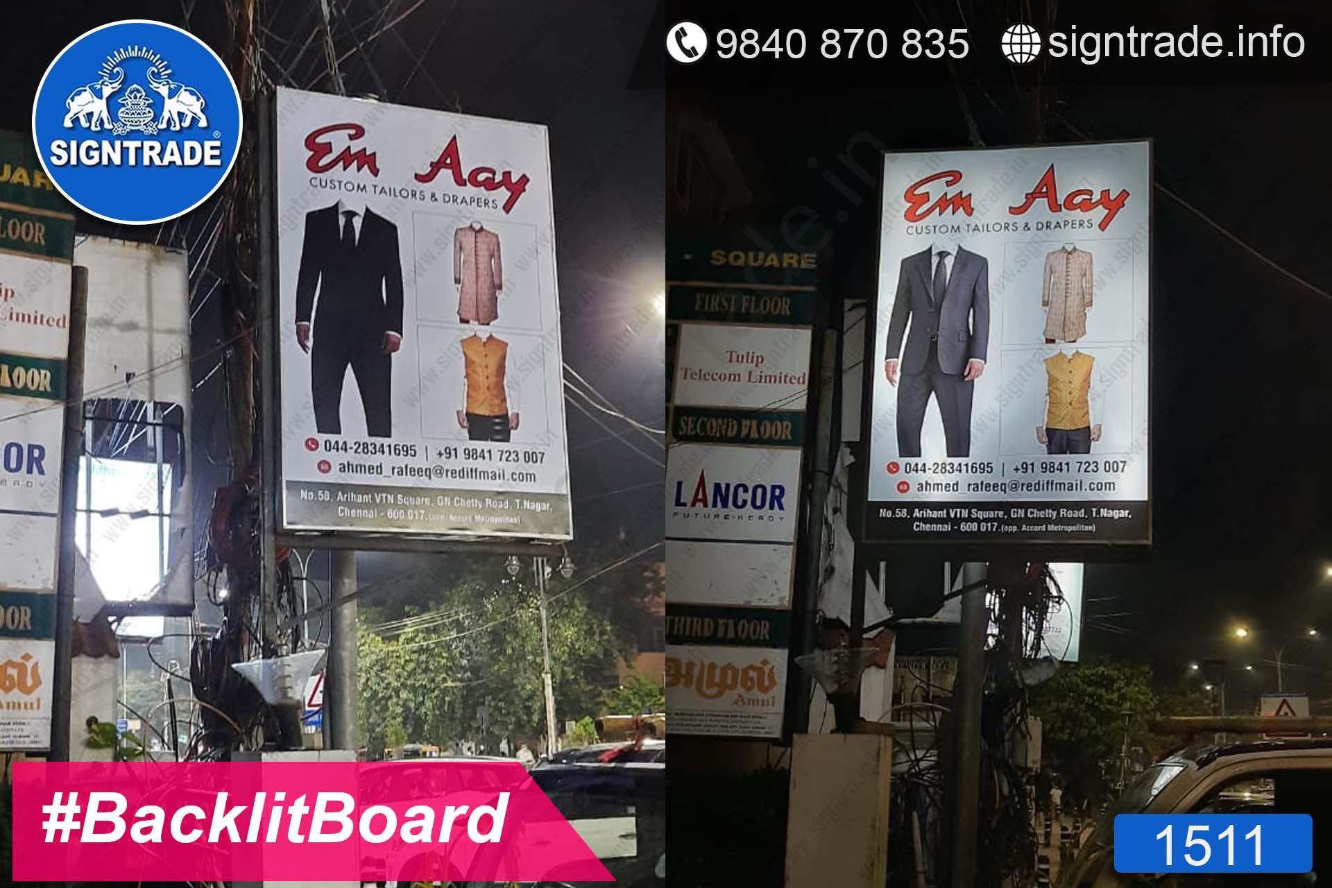 Em Aay Tailors and Drapers, T. Nagar, Chennai - SIGNTRADE - Digital Flex Printing Service - Backlit Flex Board Manufacturers in Chennai