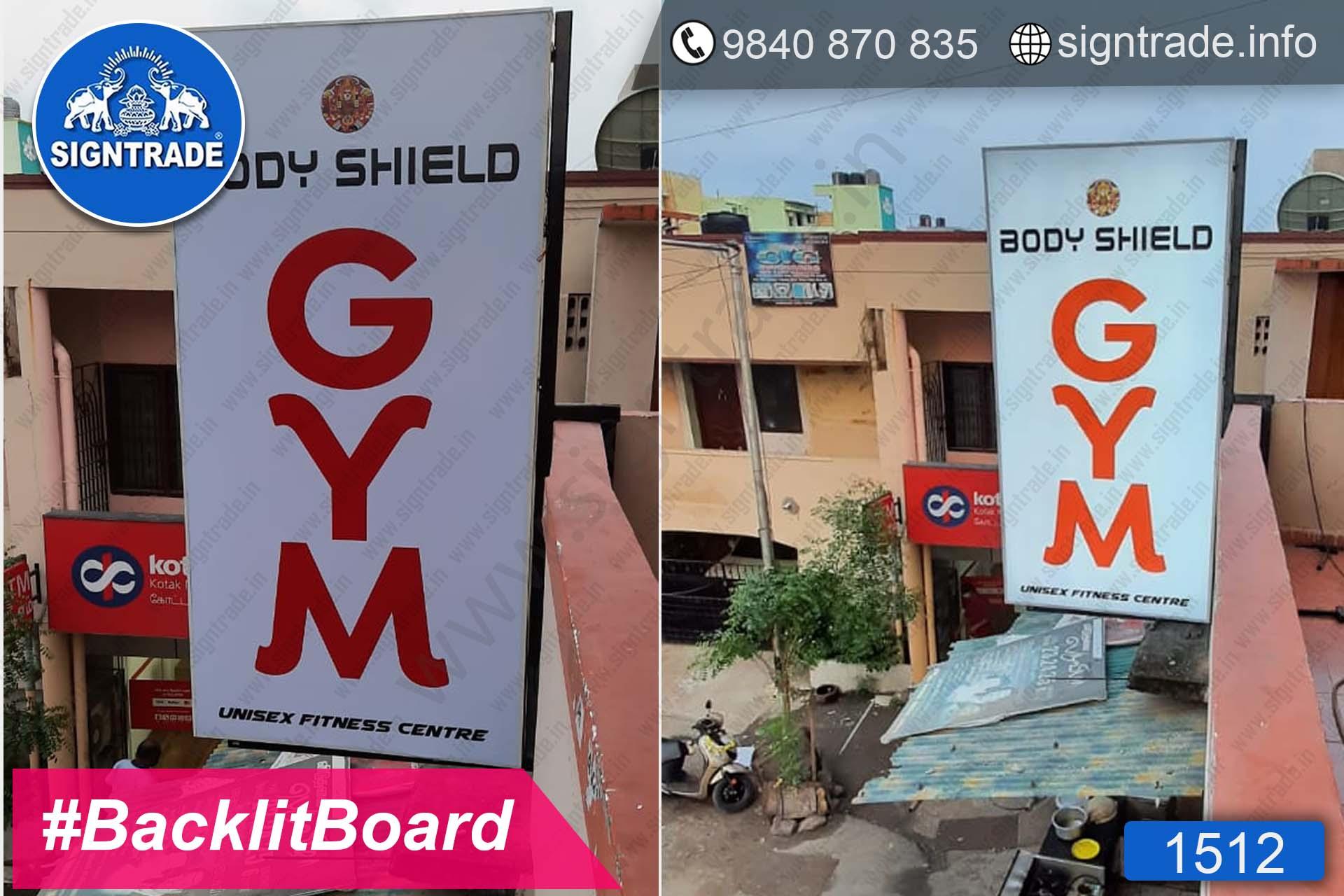 Body Shield Gym, Kandanchavadi, Chennai - SIGNTRADE - Digital Flex Printing Service - Backlit Flex Board Manufacturers in Chennai