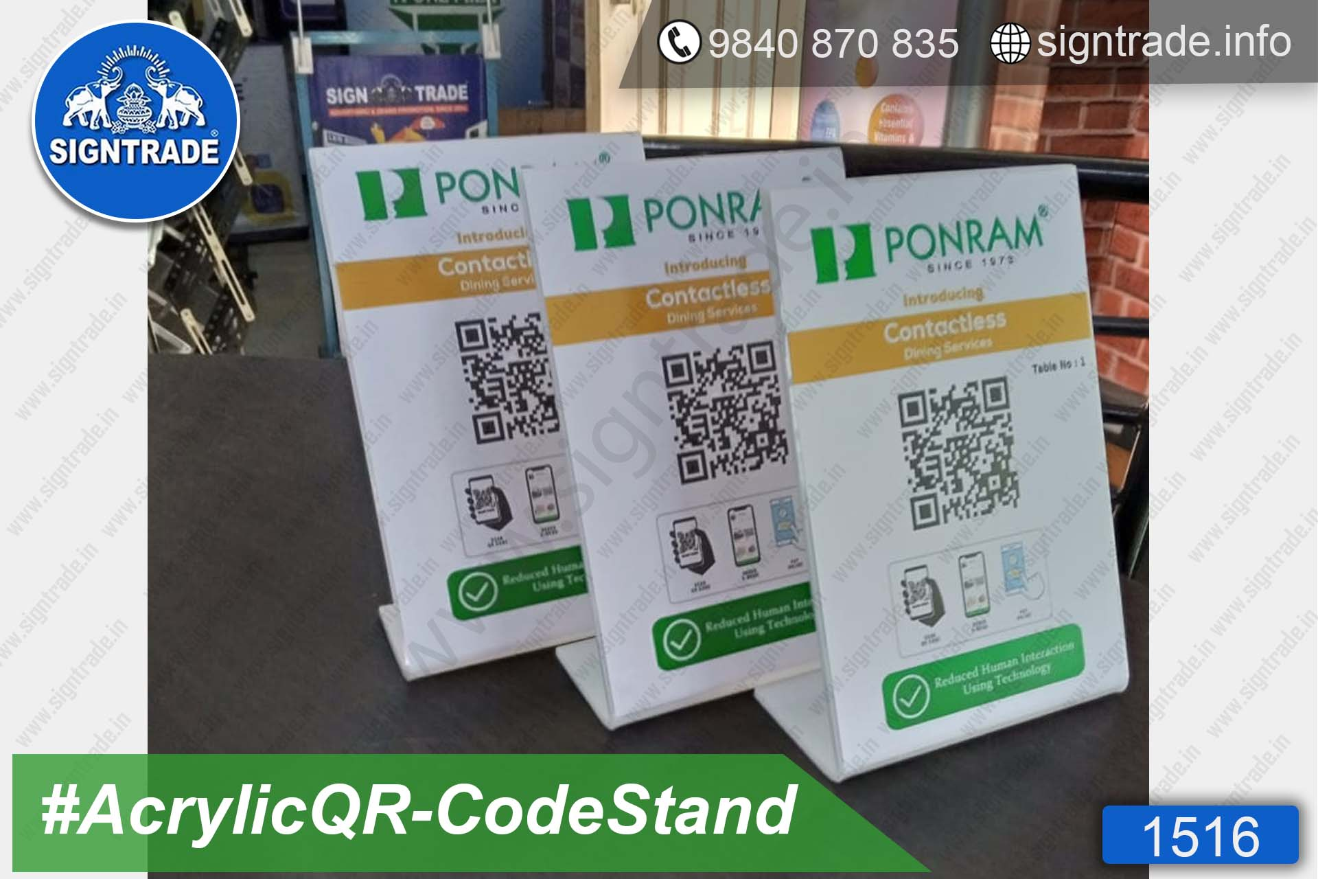 PONRAM Hotel, Dindigul - SIGNTRADE - Acrylic QR Code Stand Manufacturer, Wholesaler in Chennai