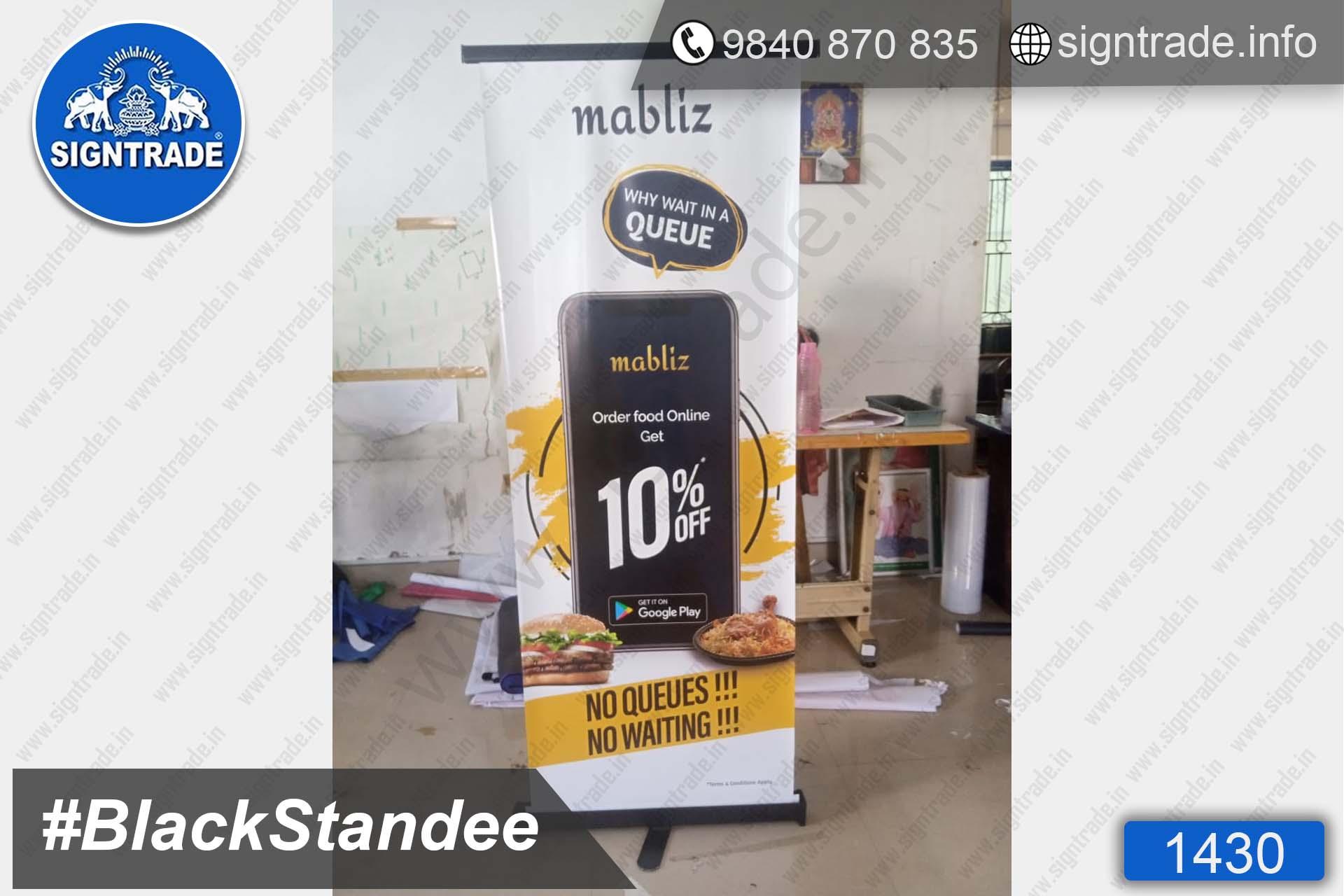 1430, Black Standee, Retractable Banner, Roll Up Banner Stand, Banner Stand, Roll Up Banner, Standee, Promotional Standee, Promotional Roll Up Standee, Promo Standee