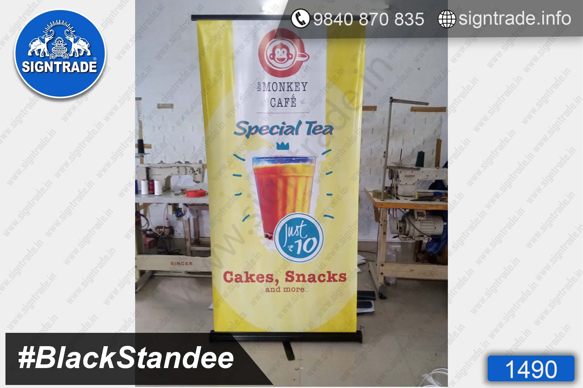 1490, Monkey Cafe Special Tea, Chennai - SIGNTRADE - Digital Printing Services - Black Roll Up Banner Stand Manufacturer in Chennai