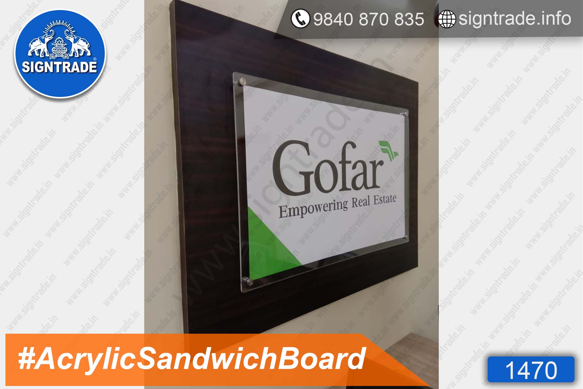 Gofar Empowering Real Estate - Acrylic Sandwich Board - SIGNTRADE - Acrylic Sandwich Board Manufacture in Chennai