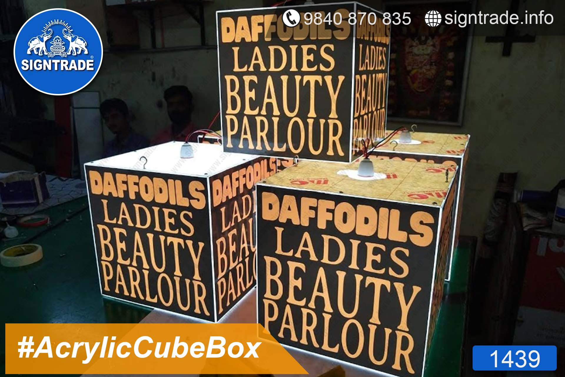 1439, Daffodils Ladies Beauty Parlour - Acrylic Cube Box