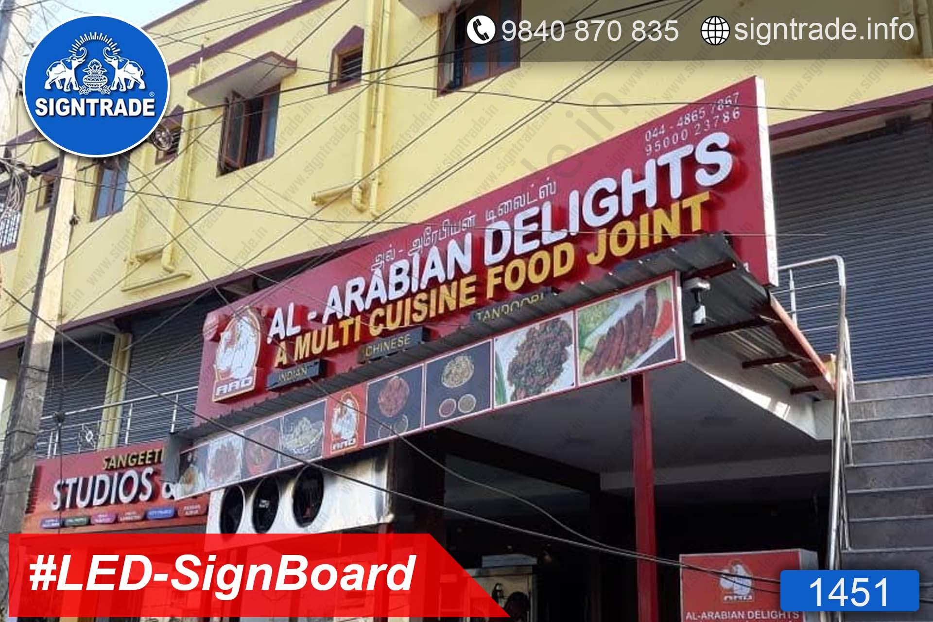1451, LED Sign Board, Sign Board, Acrylic Sign Board, Glow Sign Board, Custom Sign Board - AL Arabian Delights - A Multi Cuisine Food Joint