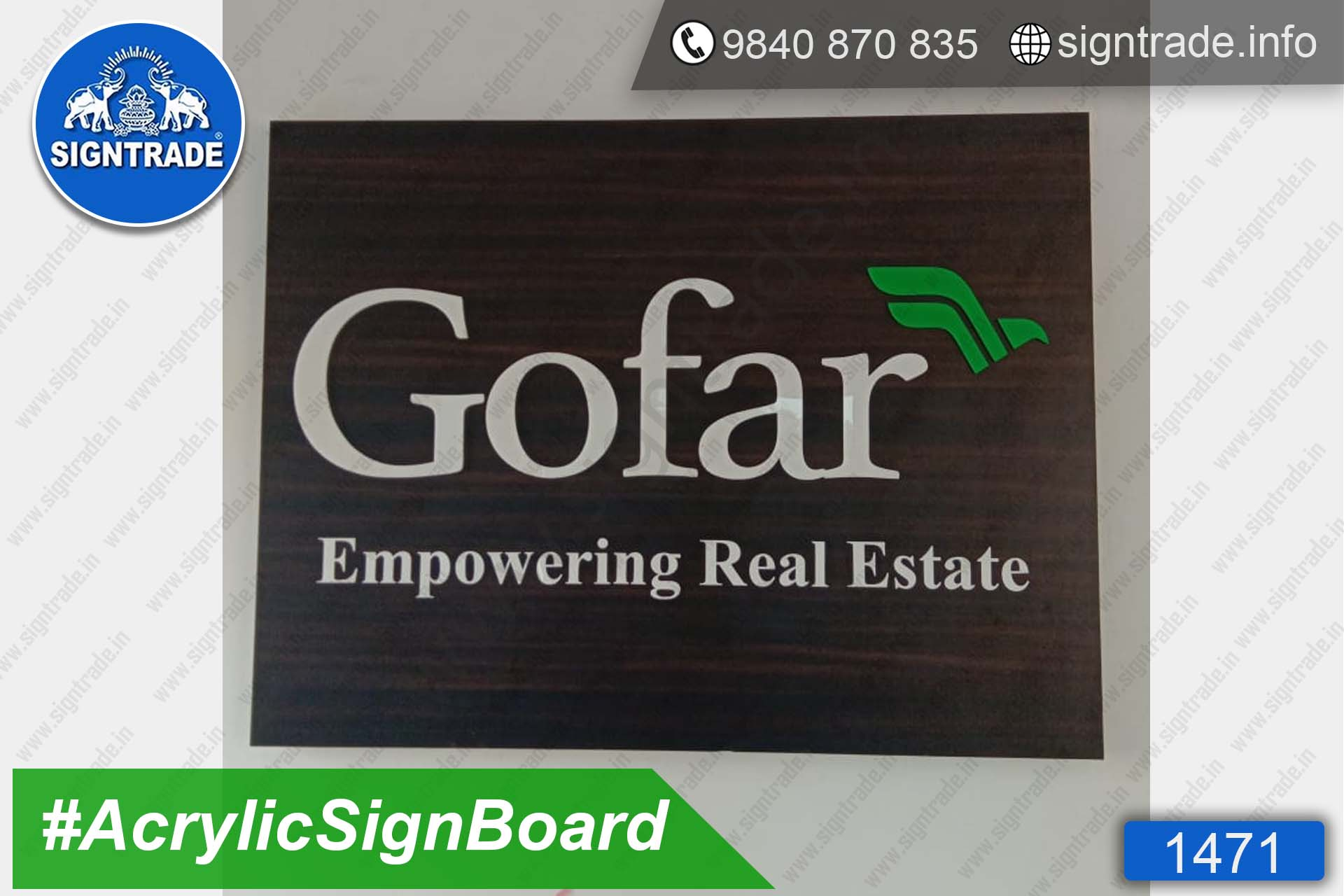 Gofar Empowering Real Estate - Acrylic Letter Sign Board - SIGNTRADE - Acrylic Letter Sign Board Manufacture in Chennai