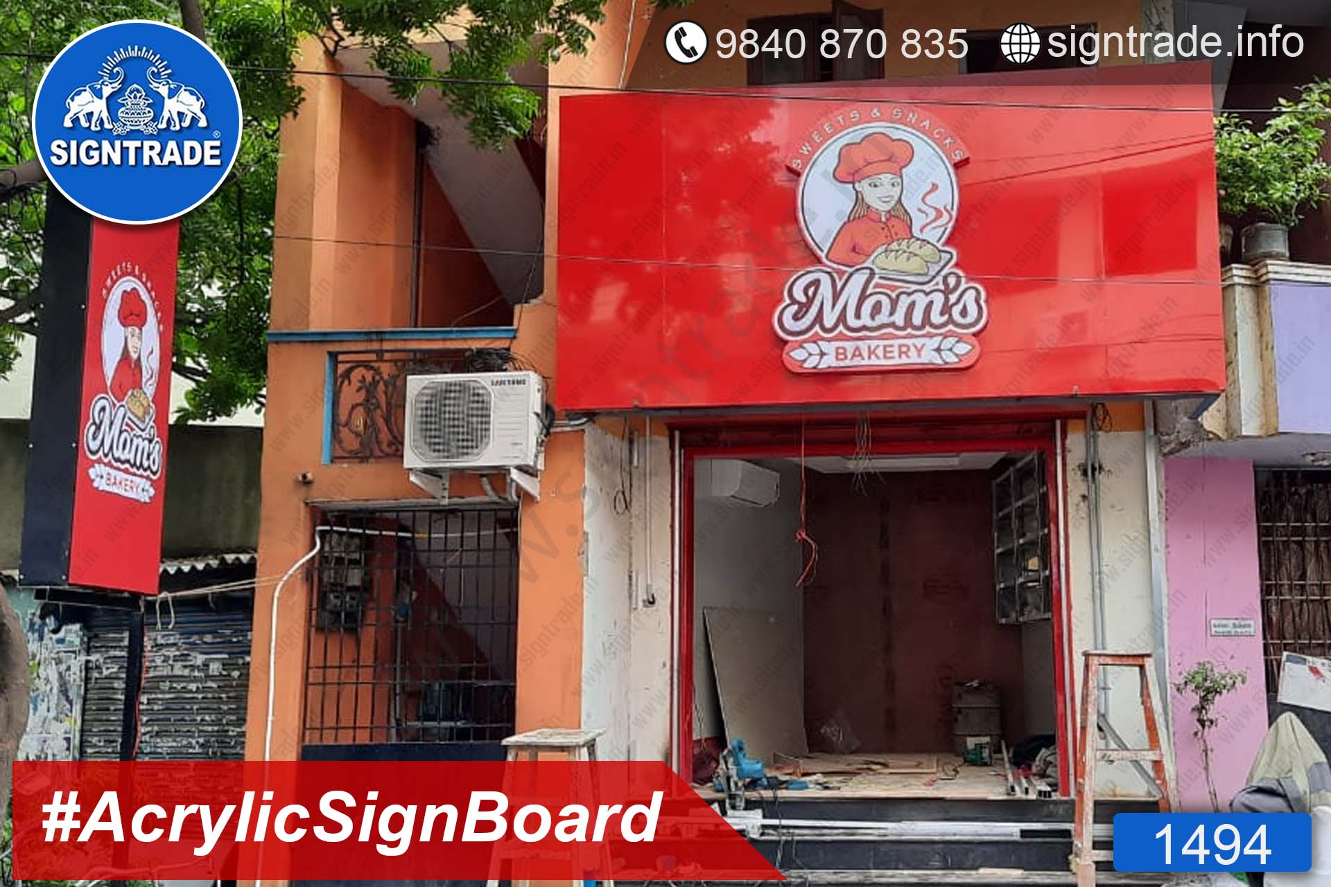 1494, Mom's Bakery, Chennai - SIGNTRADE - Acrylic ACP, LED Sign Board Manufacturers in Chennai