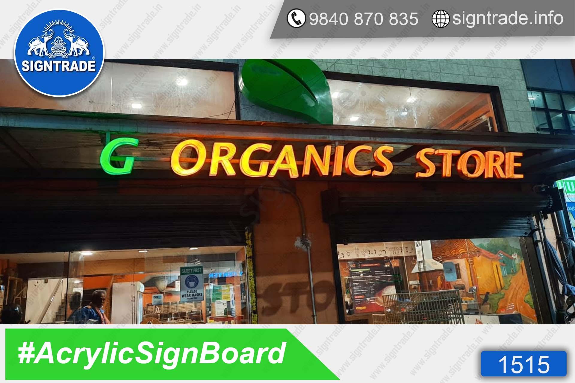 G Organics Store, Valasaravakkam, Chennai - SIGNTRADE - Acrylic, LED Sign Board Manufacturers in Chennai