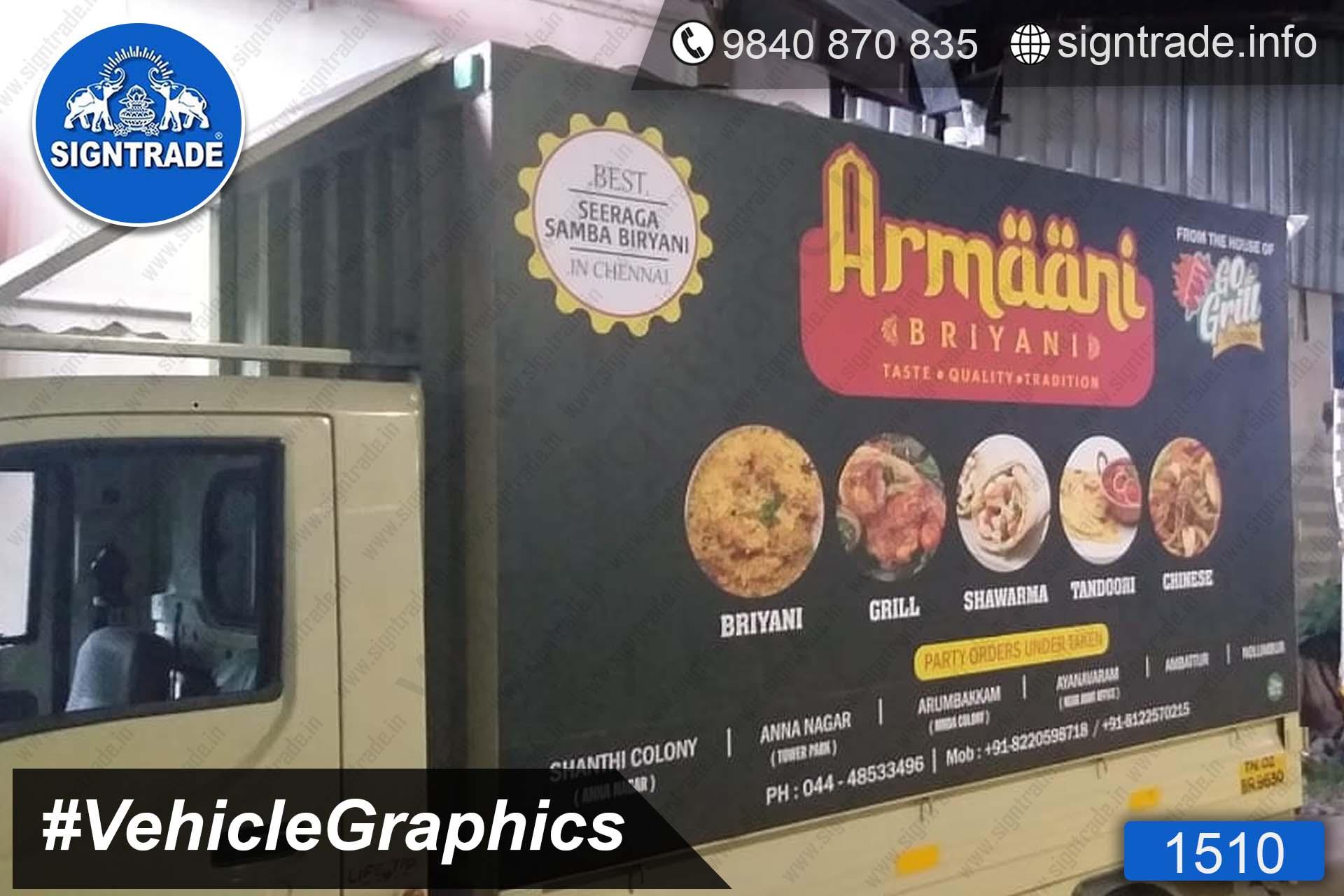 Armani Biryani, Chennai - SIGNTRADE - Vinyl, Stickers, Van Graphics, Vehicle Graphics and Wraps Service Provider in Chennai