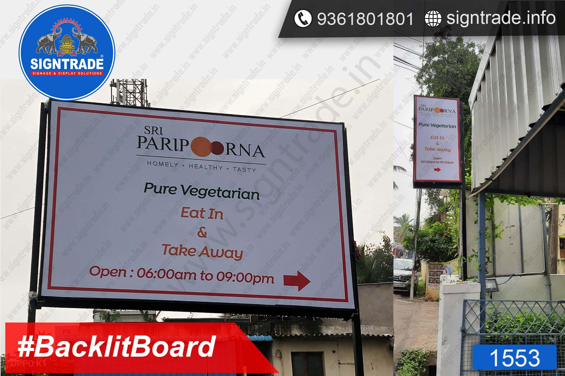 Sri Paripoorna Vegetarian Restaurant - Chennai - SIGNTRADE - Digital Printing Service, Backlit Flex Board Manufacturers in Chennai