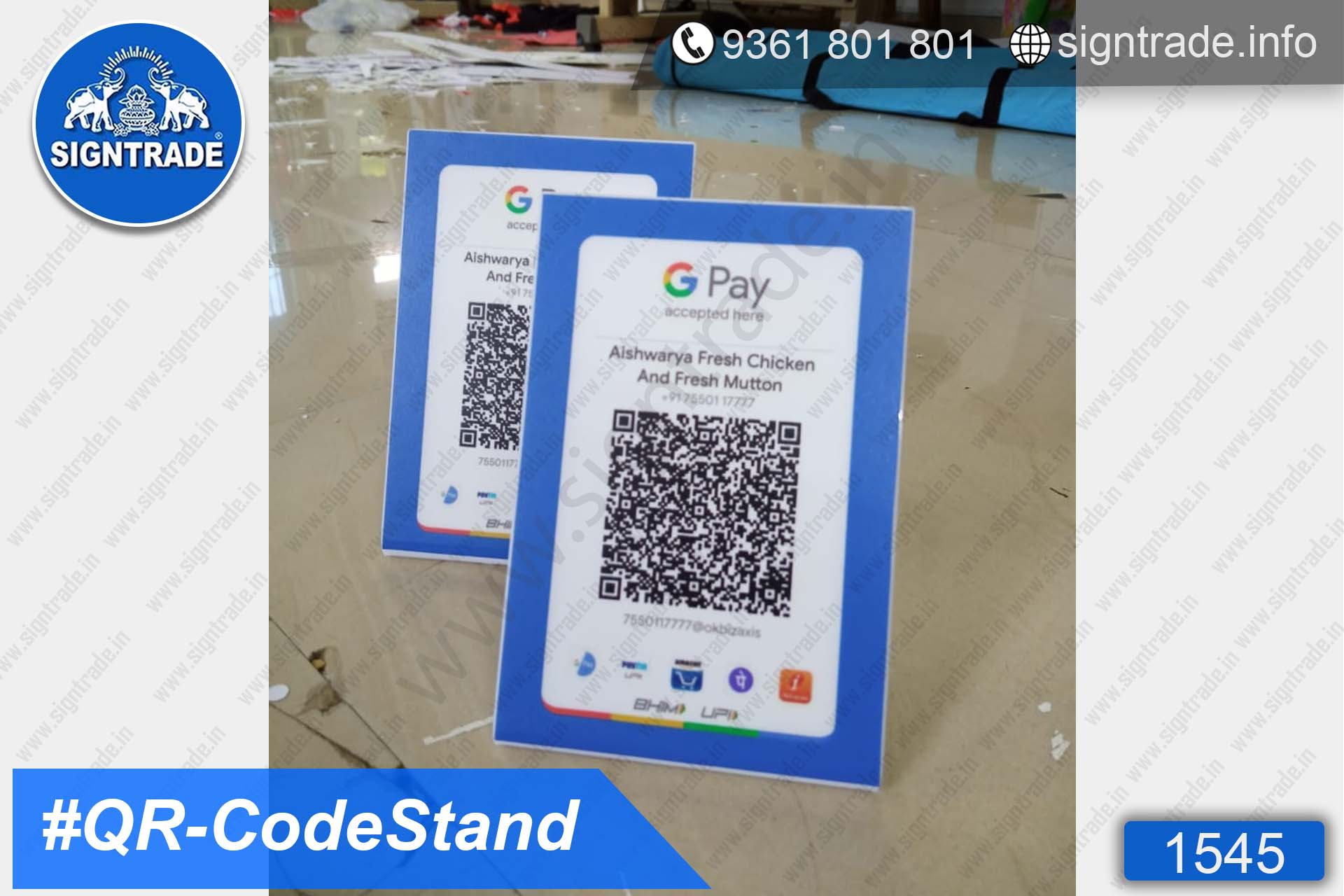 White Acrylic QR Code Stand , QR Code Scanner Stand Wholesaler, Retailer and Manufacturer in Chennai