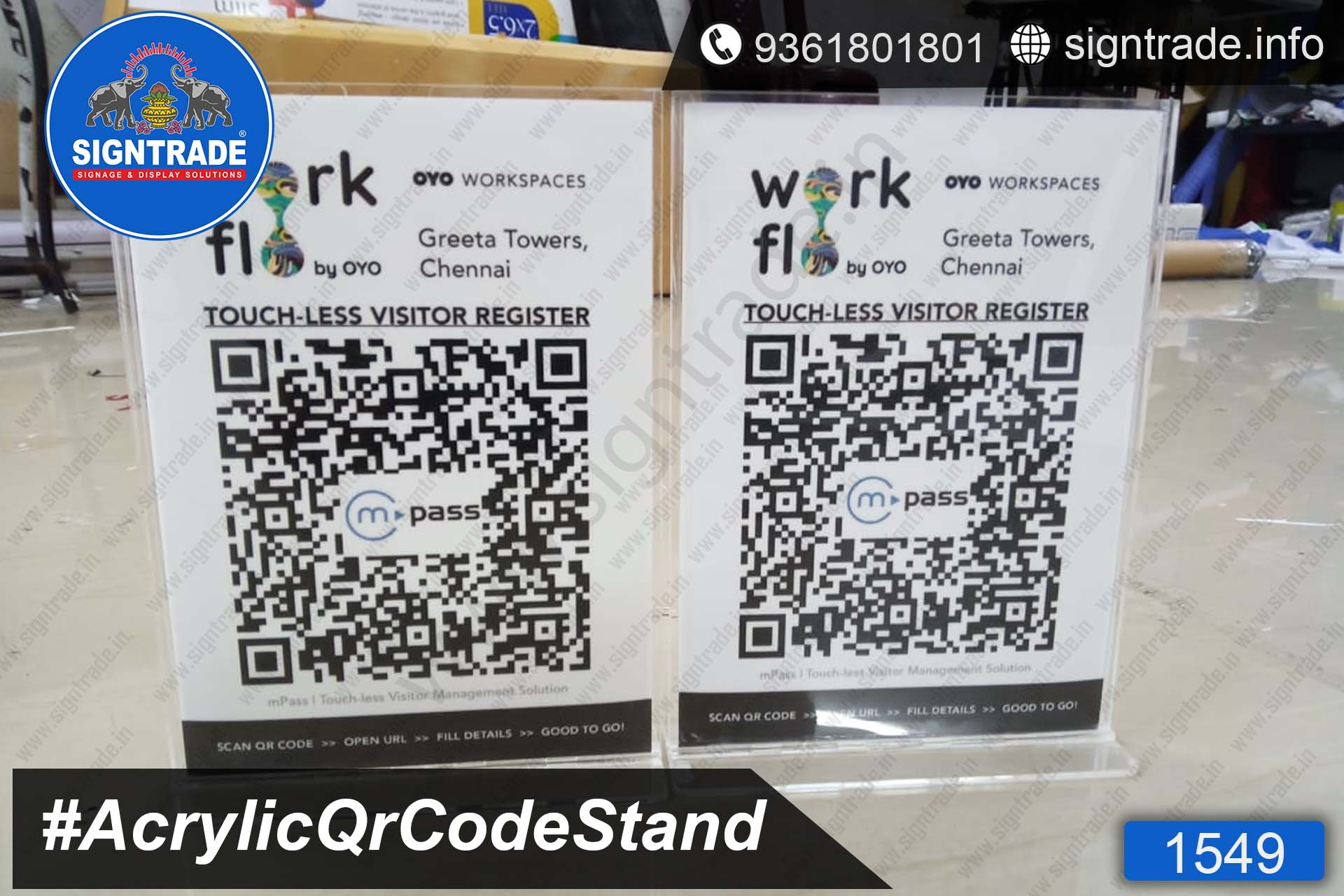 Clear Acrylic QR Code Stand, Table top QR Code Scanner Stand Wholesaler, Retailer and Manufacturer in Chennai