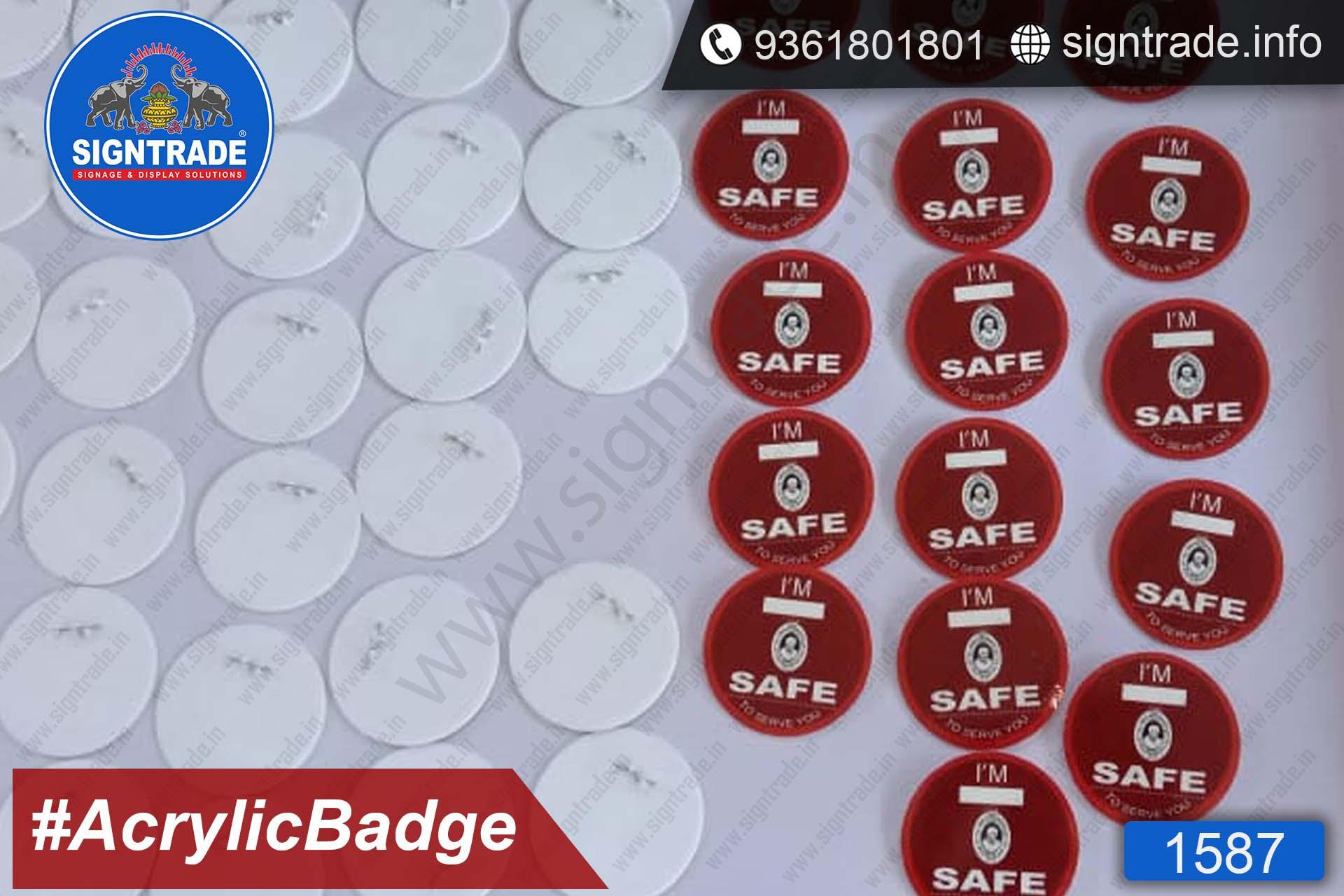 Custom Acrylic Pin Badge - Custom Made Acrylic Pin Badge Manufacturers in Chennai