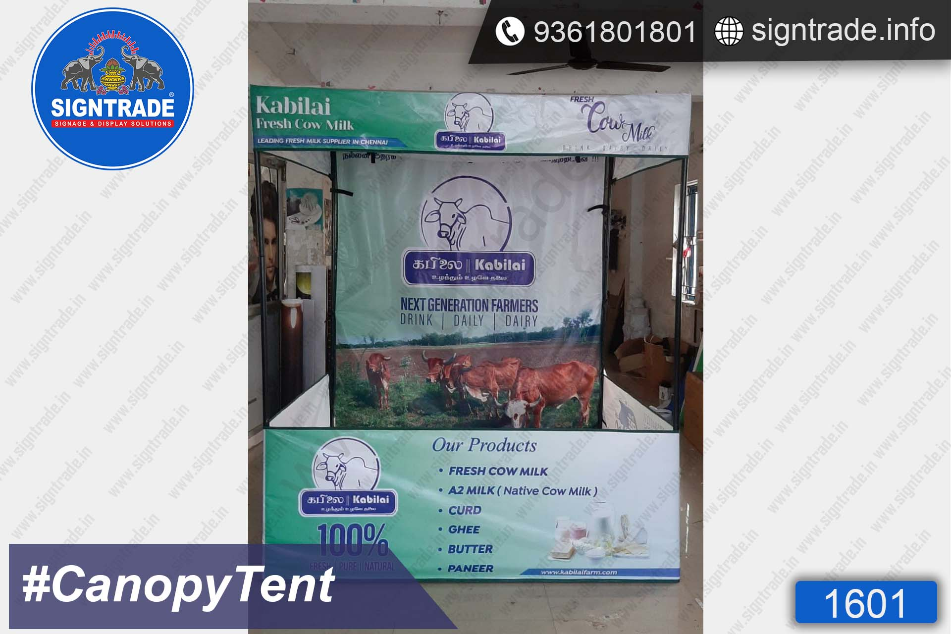 Kabilai Fresh Cow Milk - Flat Roof Tent - SIGNTRADE - Canopy Tent Manufactures in Chennai