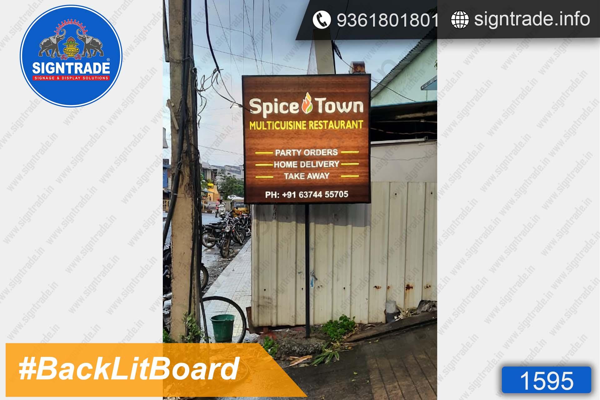 Spicetown Multicuisine Restaurant, Chennai - SIGNTRADE - Digital Flex Printing Service - Backlit Flex Board Manufacturers in Chennai