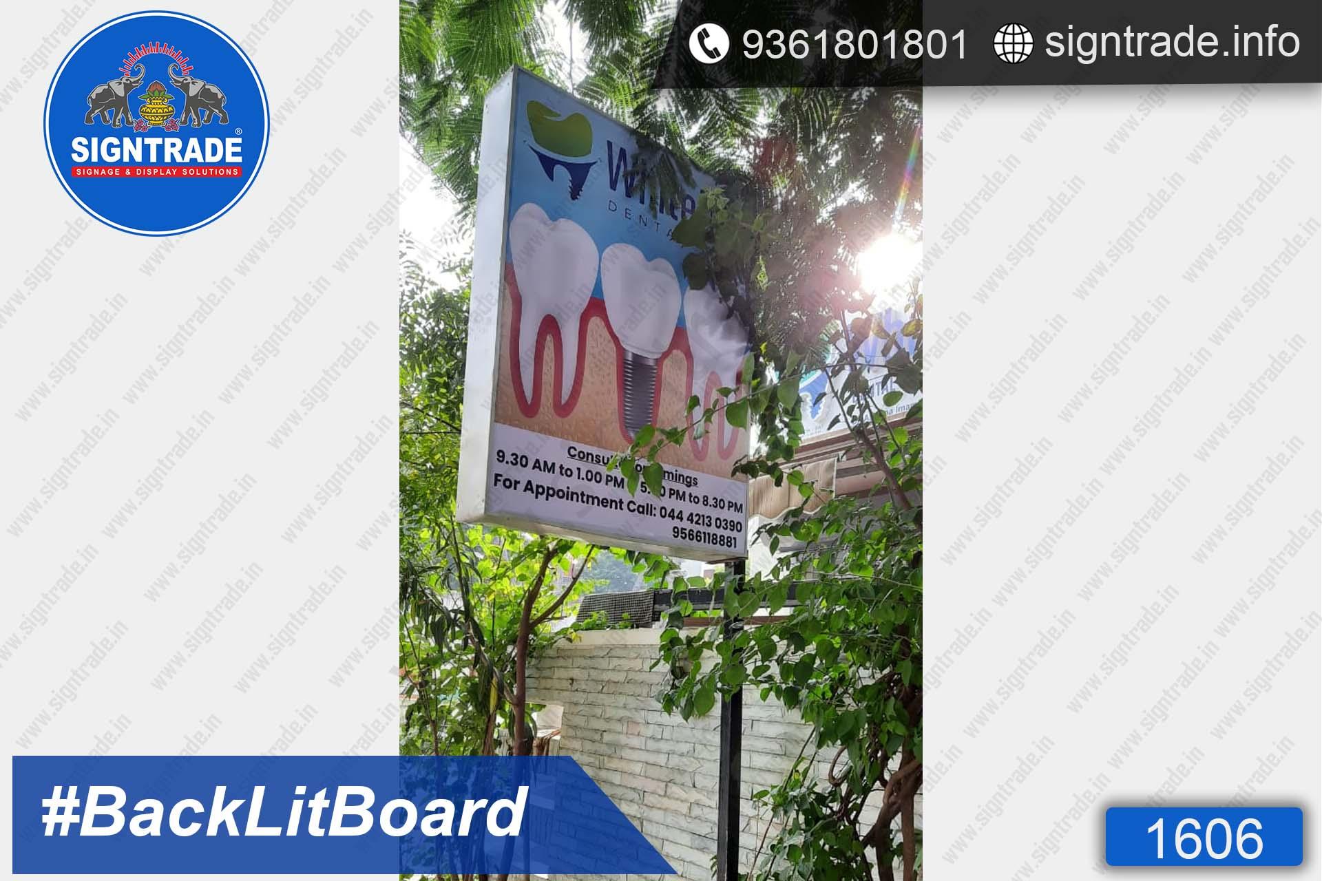 Whiteline Dental Care, Anna nagar, Chennai - SIGNTRADE - Digital Flex Printing Service - Backlit Flex Board Manufacturers in Chennai