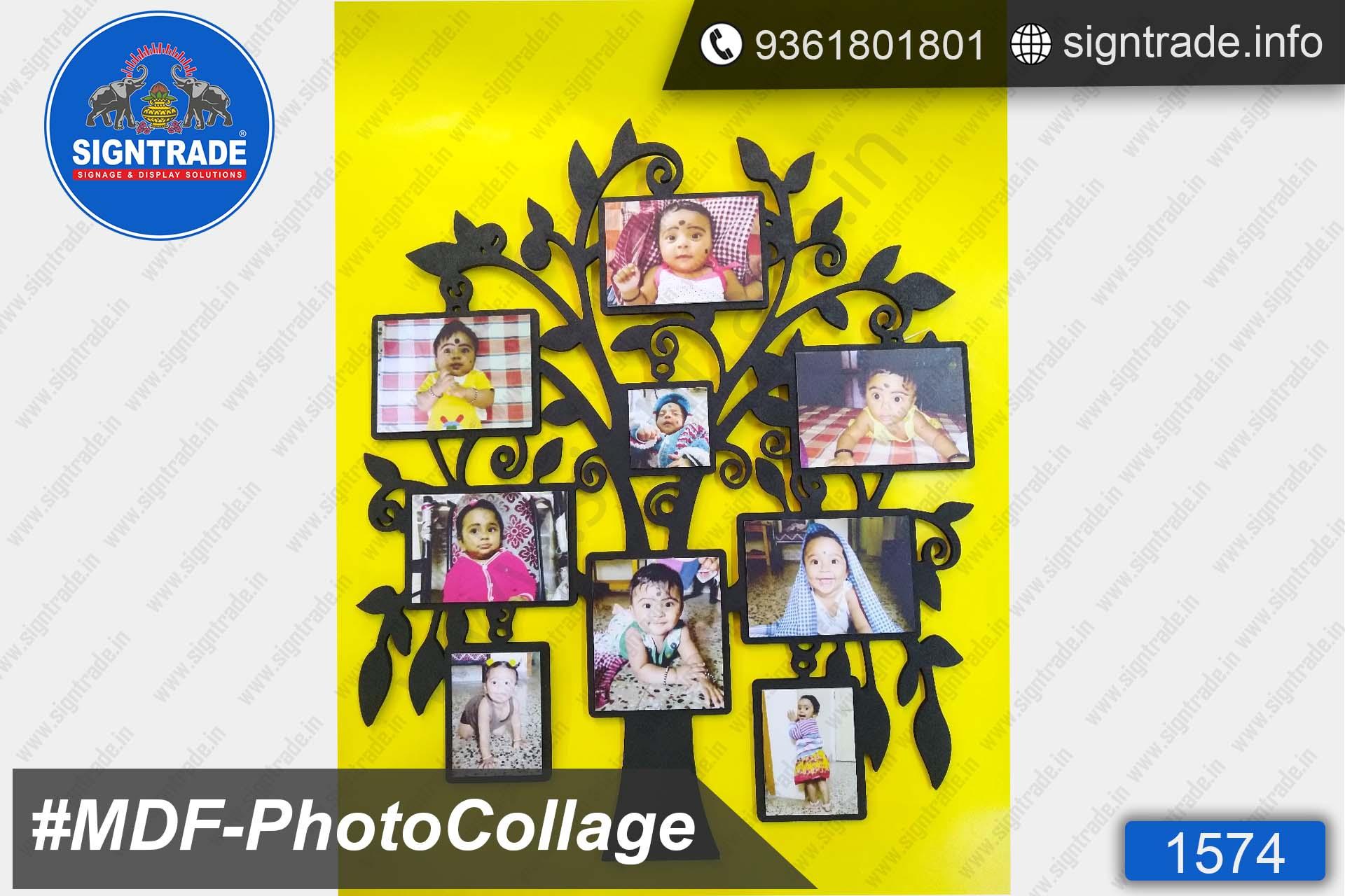 Black MDF Tree Shape Photo Collage, MDF Photo Collage, Photo Frame Manufacturer in Chennai