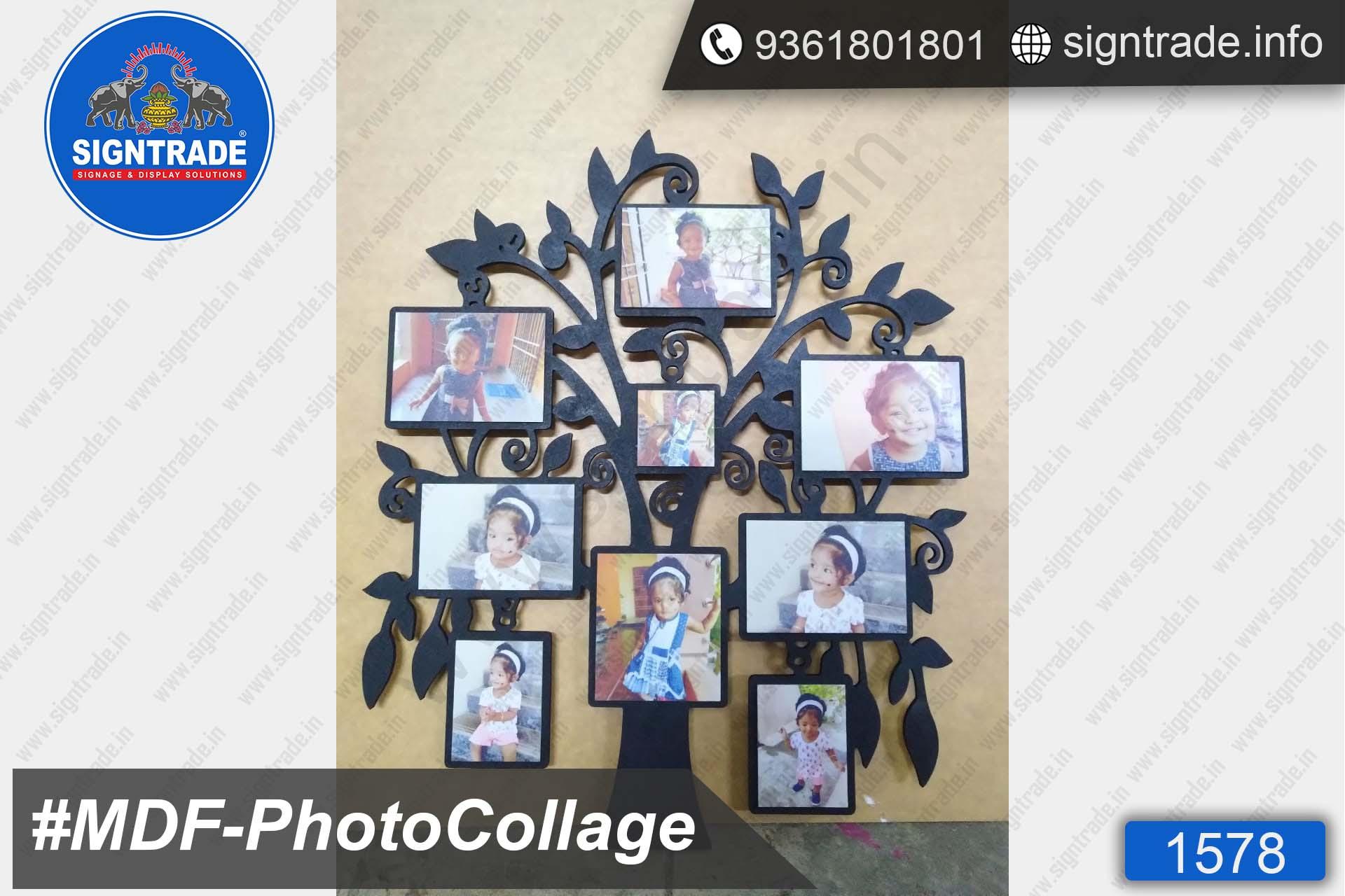 Kids Photo Collage, Black MDF Tree Shape Photo Collage, MDF Photo Collage, Photo Frame Manufacturer in Chennai